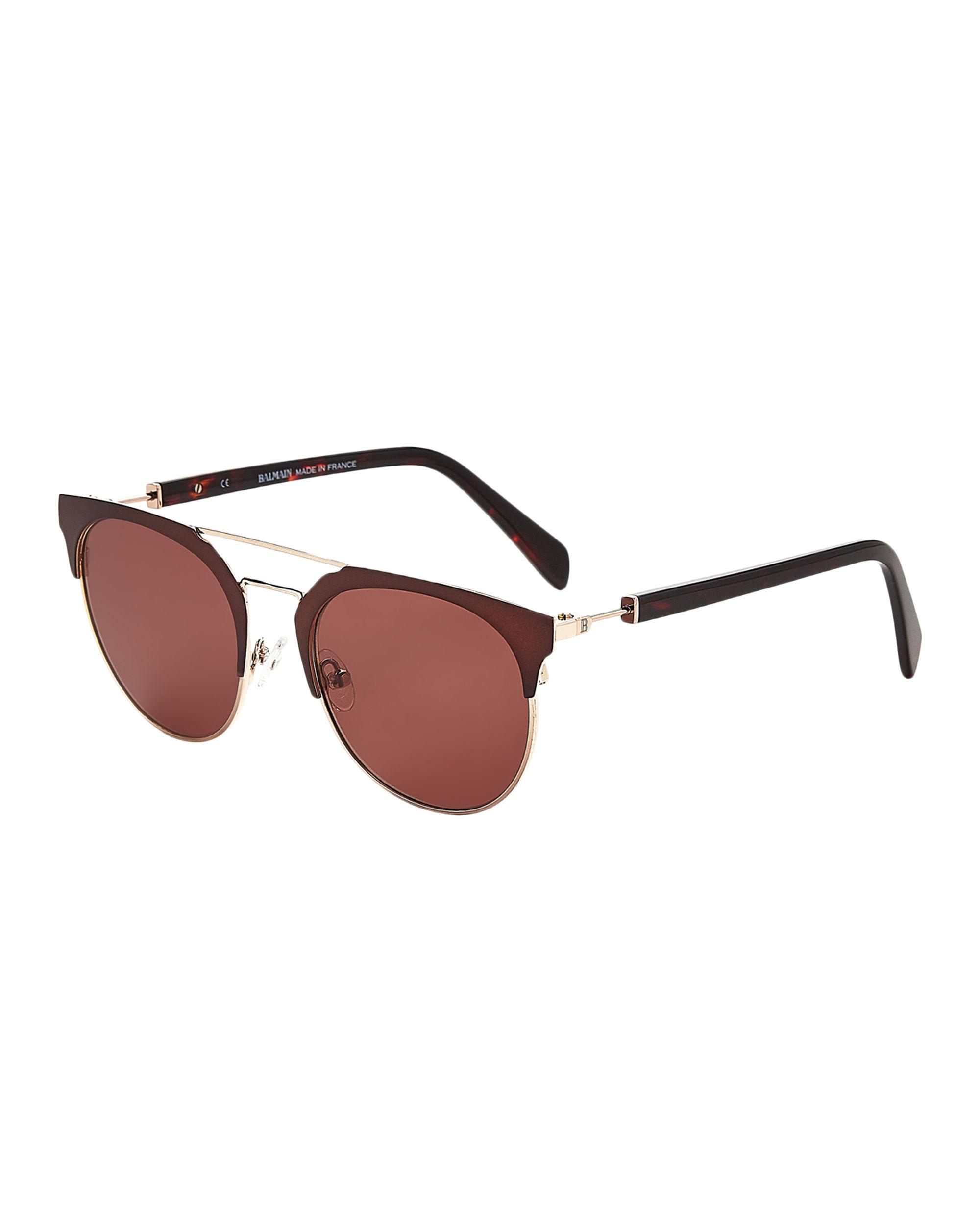 79be6a0fef Lyst - Balmain Bl2109 Brown   Gold-tone Round Sunglasses in Brown ...