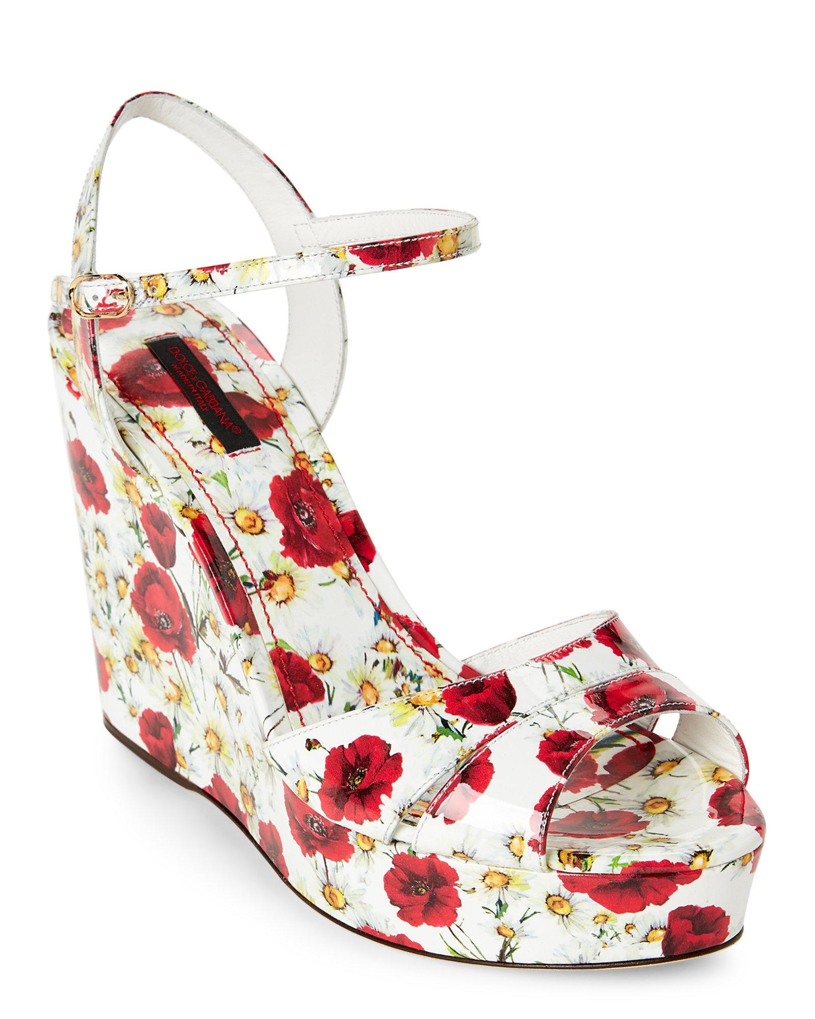 cff13333e0 Dolce & Gabbana White & Red Floral Print Platform Wedge Sandals in ...