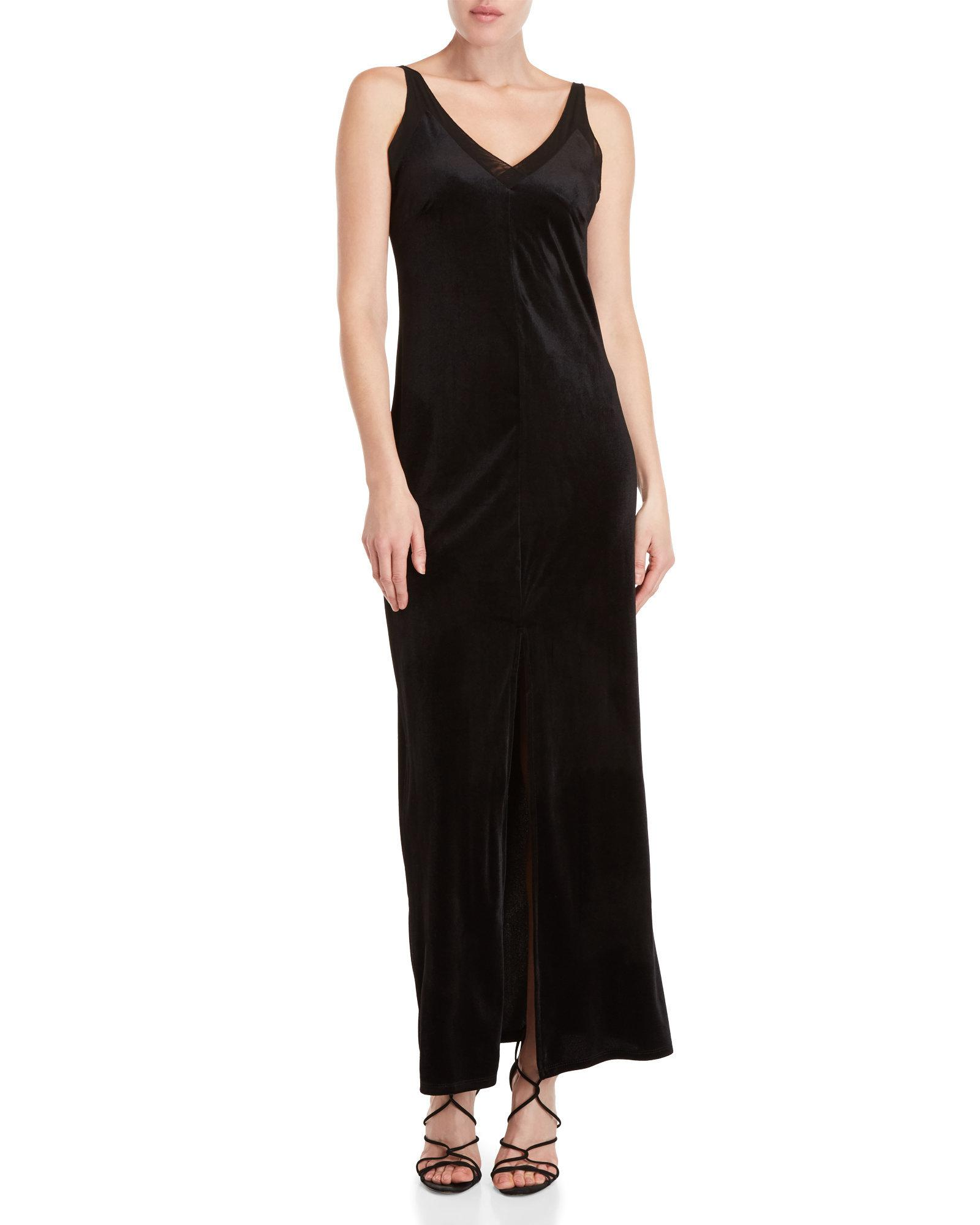 4d35ed247d6 Lyst - Romeo and Juliet Couture Black Velvet Maxi Slip Dress in Black