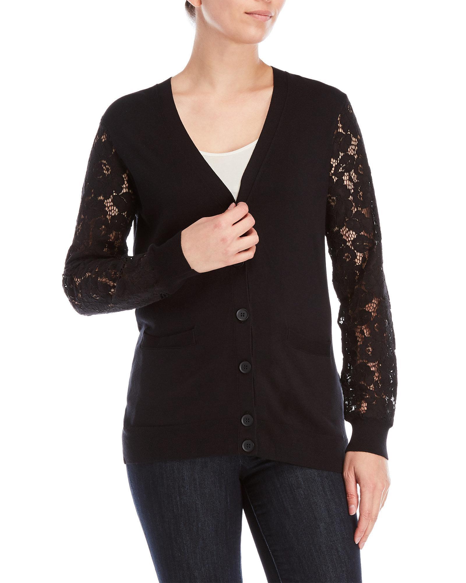 Dkny Lace Sleeve Cardigan in Black   Lyst