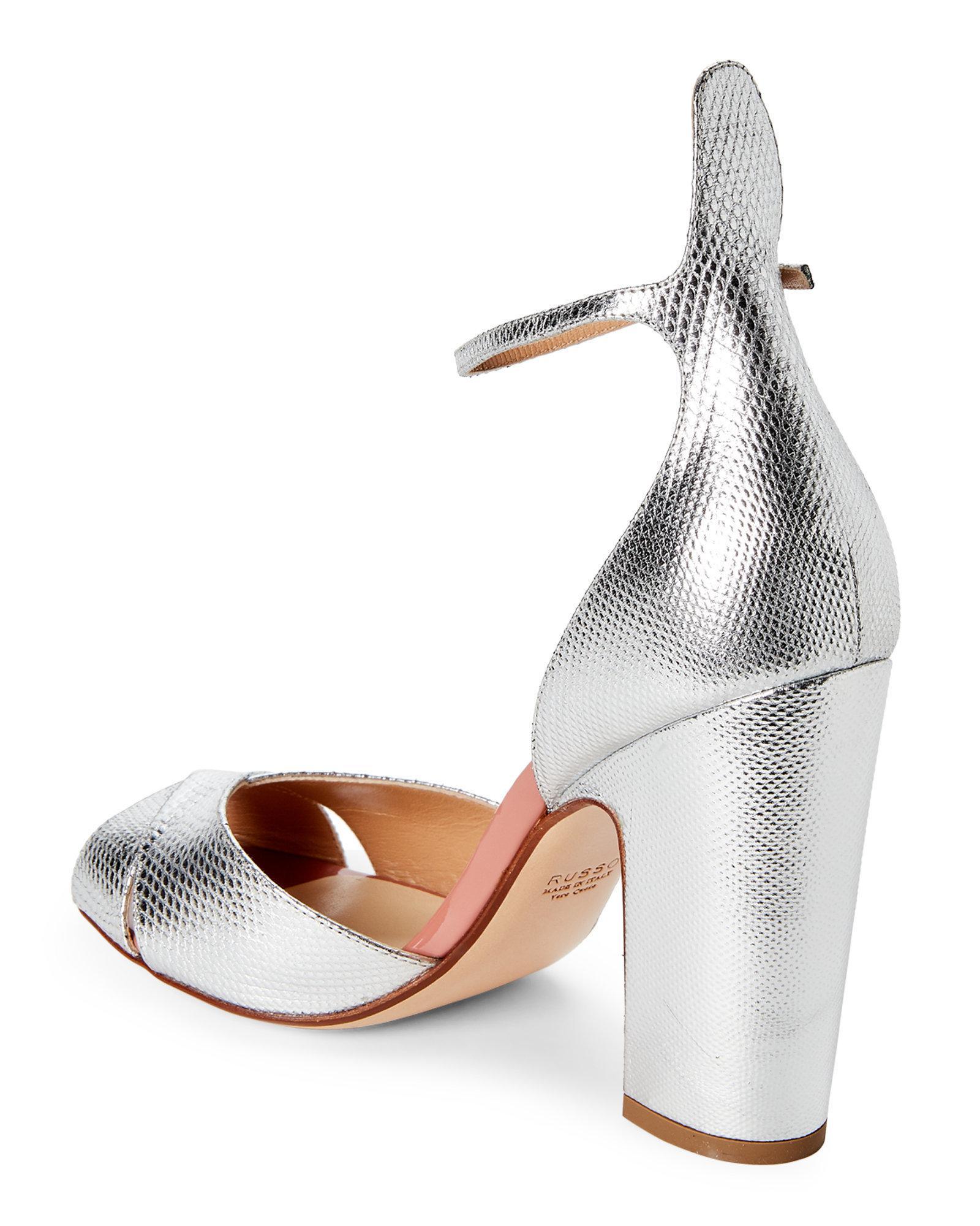 38d8099b652 Lyst - Francesco Russo Silver Leather Peep Toe Pumps in Metallic