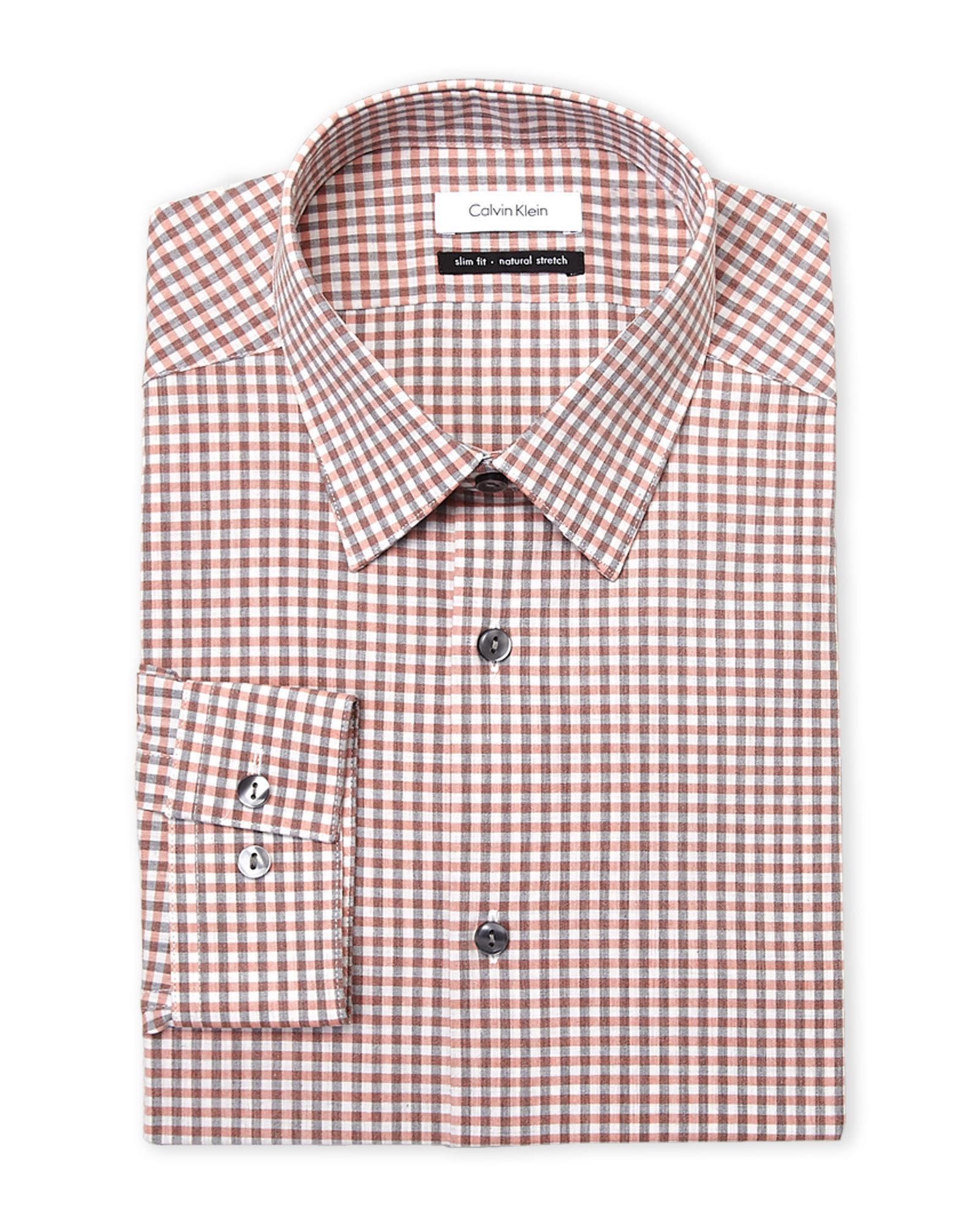 Lyst Calvin Klein Salmon Plaid Slim Fit Dress Shirt In Red For Men