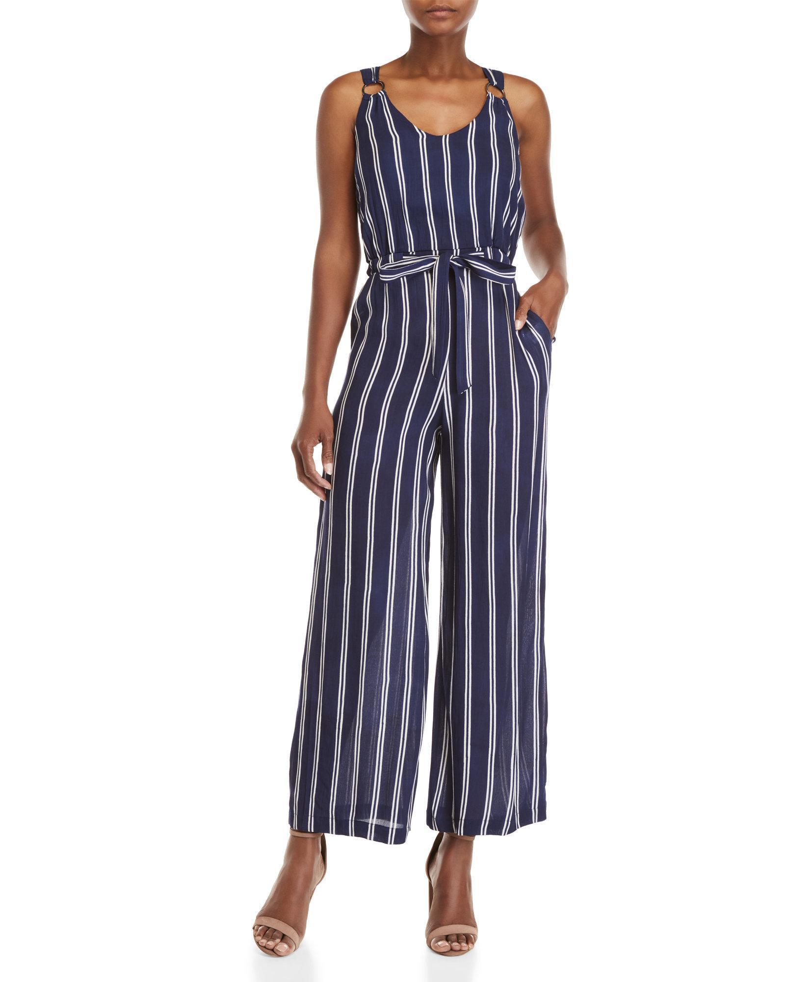 66a576709d2 Lyst - Derek Heart Striped Self-tie Jumpsuit in Blue