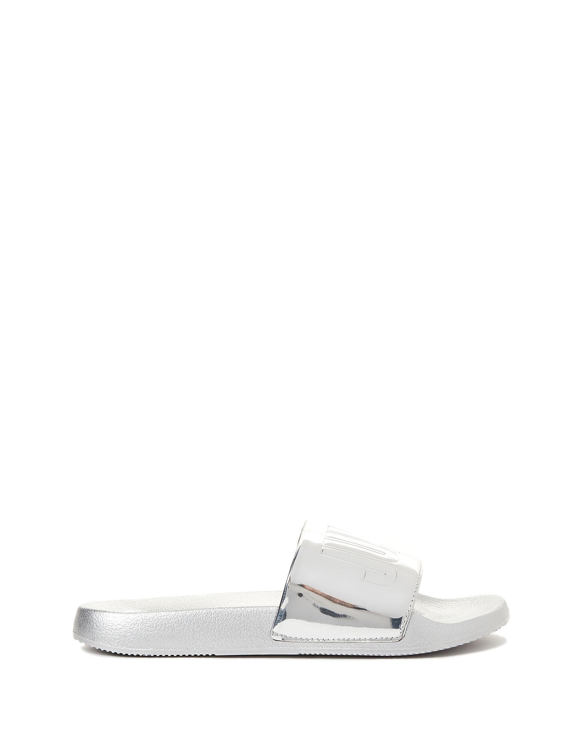 0c731d132bd1 Lyst - Juicy Couture Silver Logo Slide Sandals in Metallic