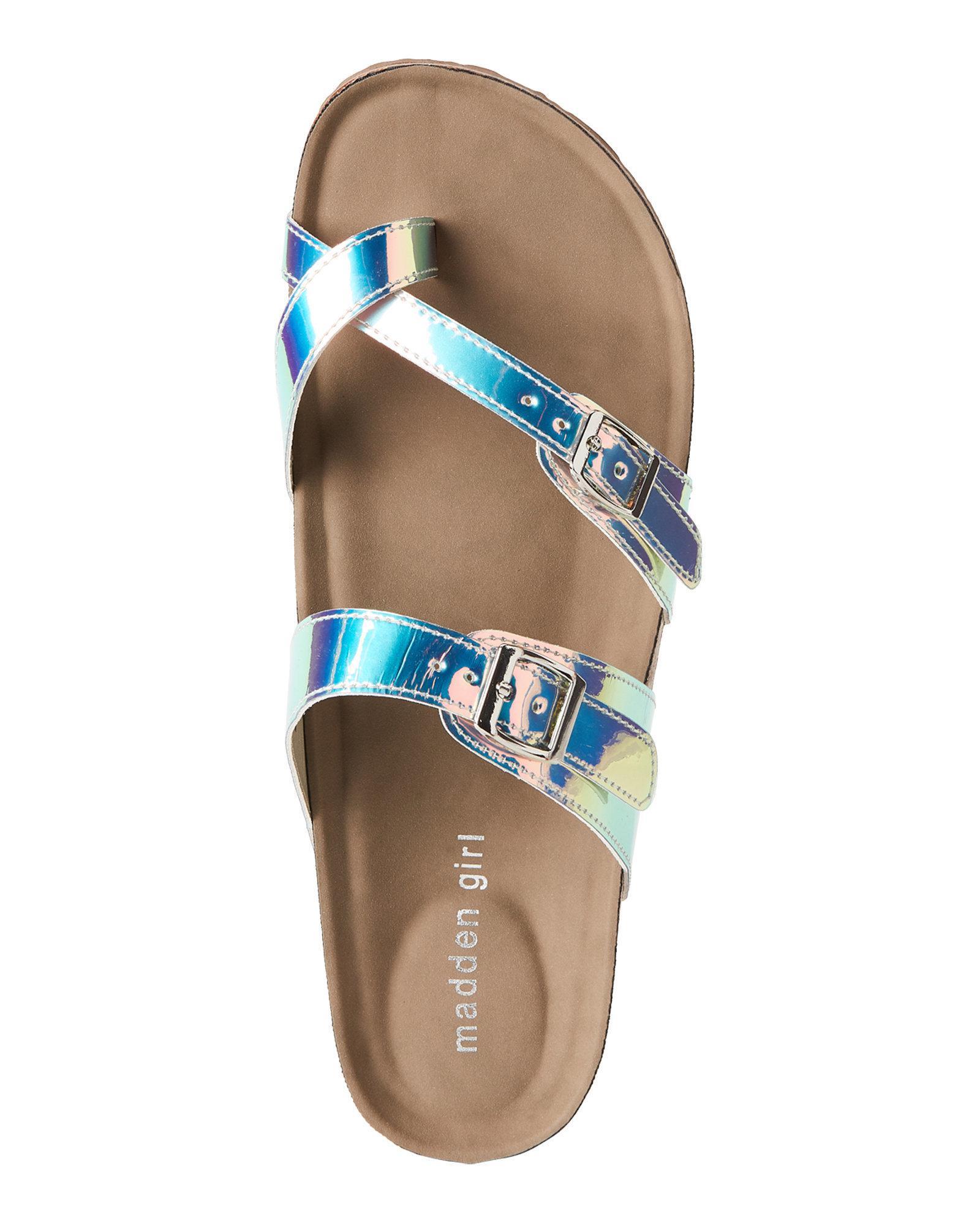 6e96e291d140 Lyst - Madden Girl Iridescent Bryceee Footbed Sandals