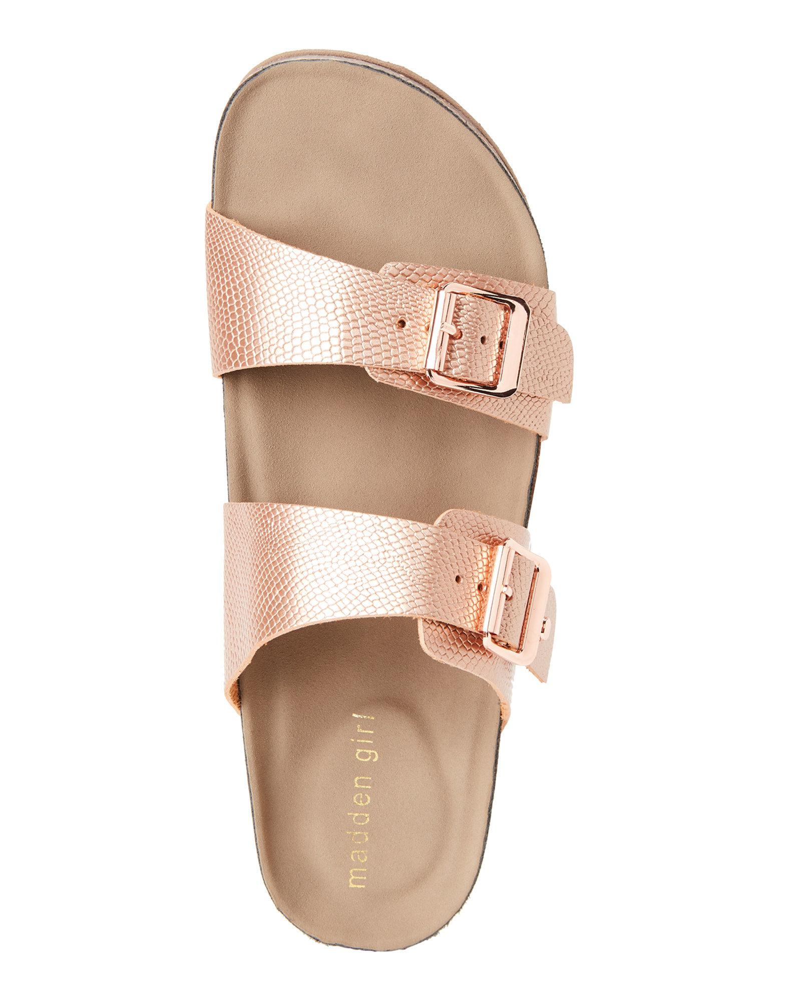 dc71c2aca47 Lyst - Madden Girl Rose Gold Brando Footbed Sandals