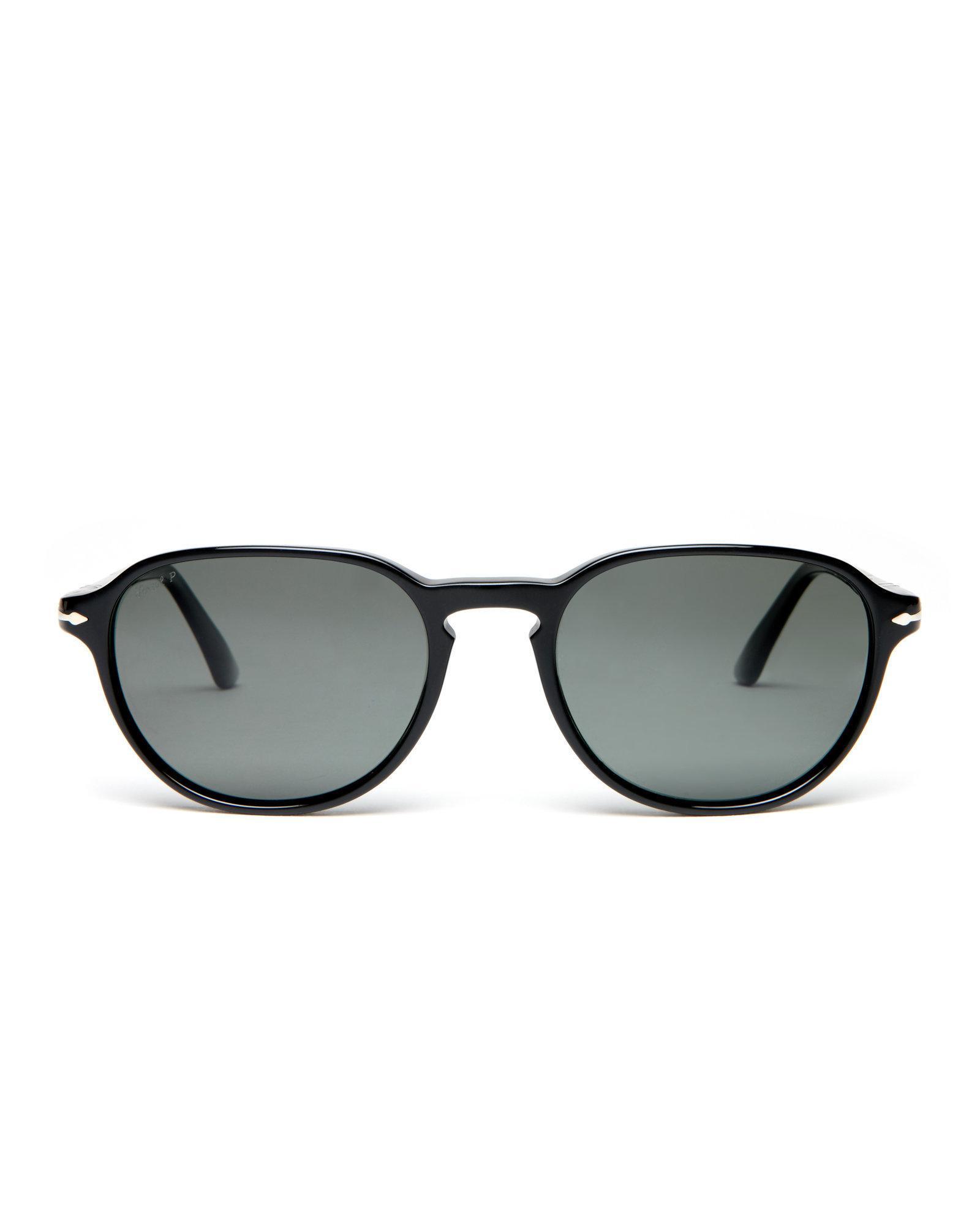 69403fba684c5 Lyst - Persol Po3053 Black Polarized Oval Sunglasses in Black