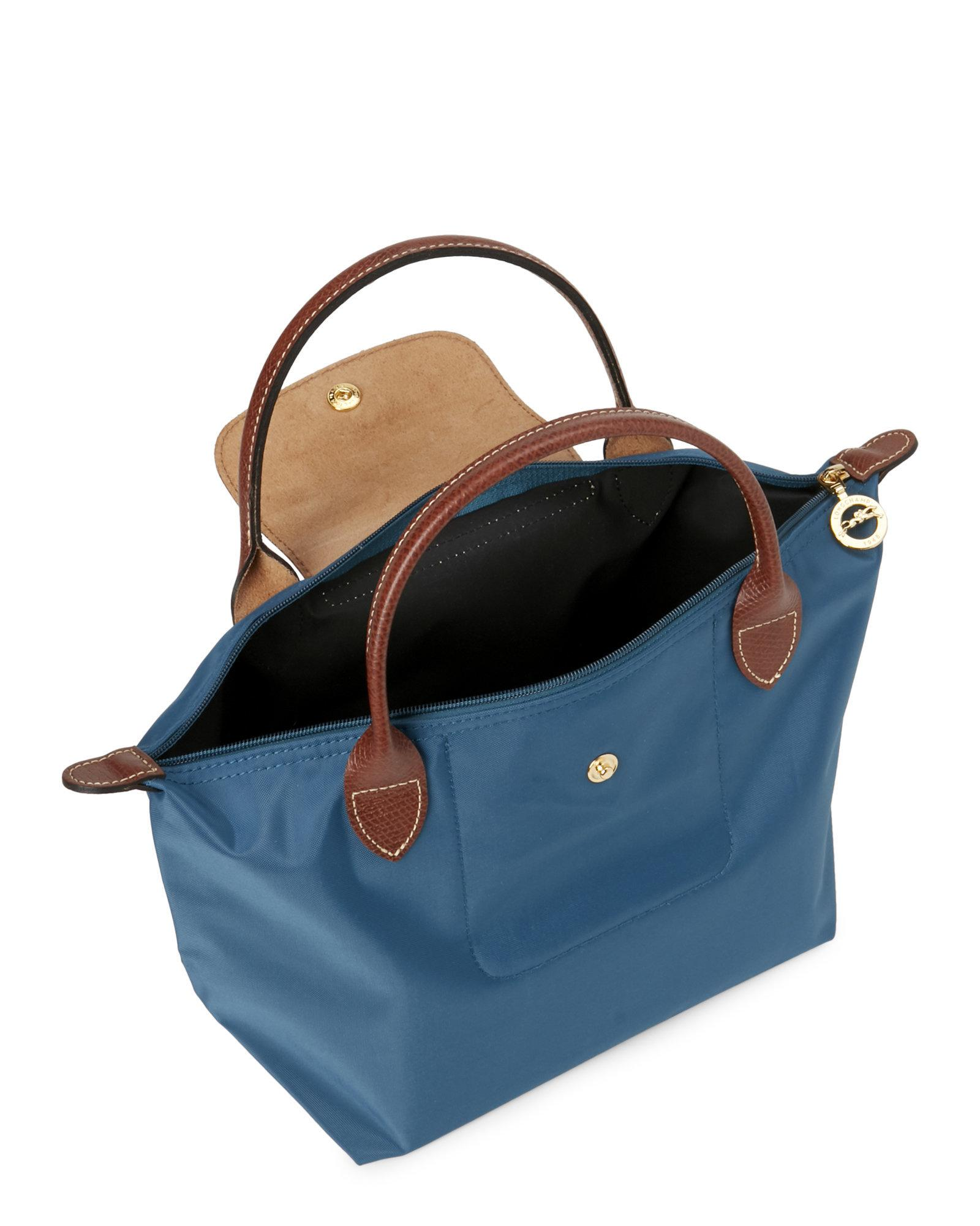 e6ed0ab8af6f88 Longchamp Peacock Le Pliage Small Satchel in Blue - Lyst
