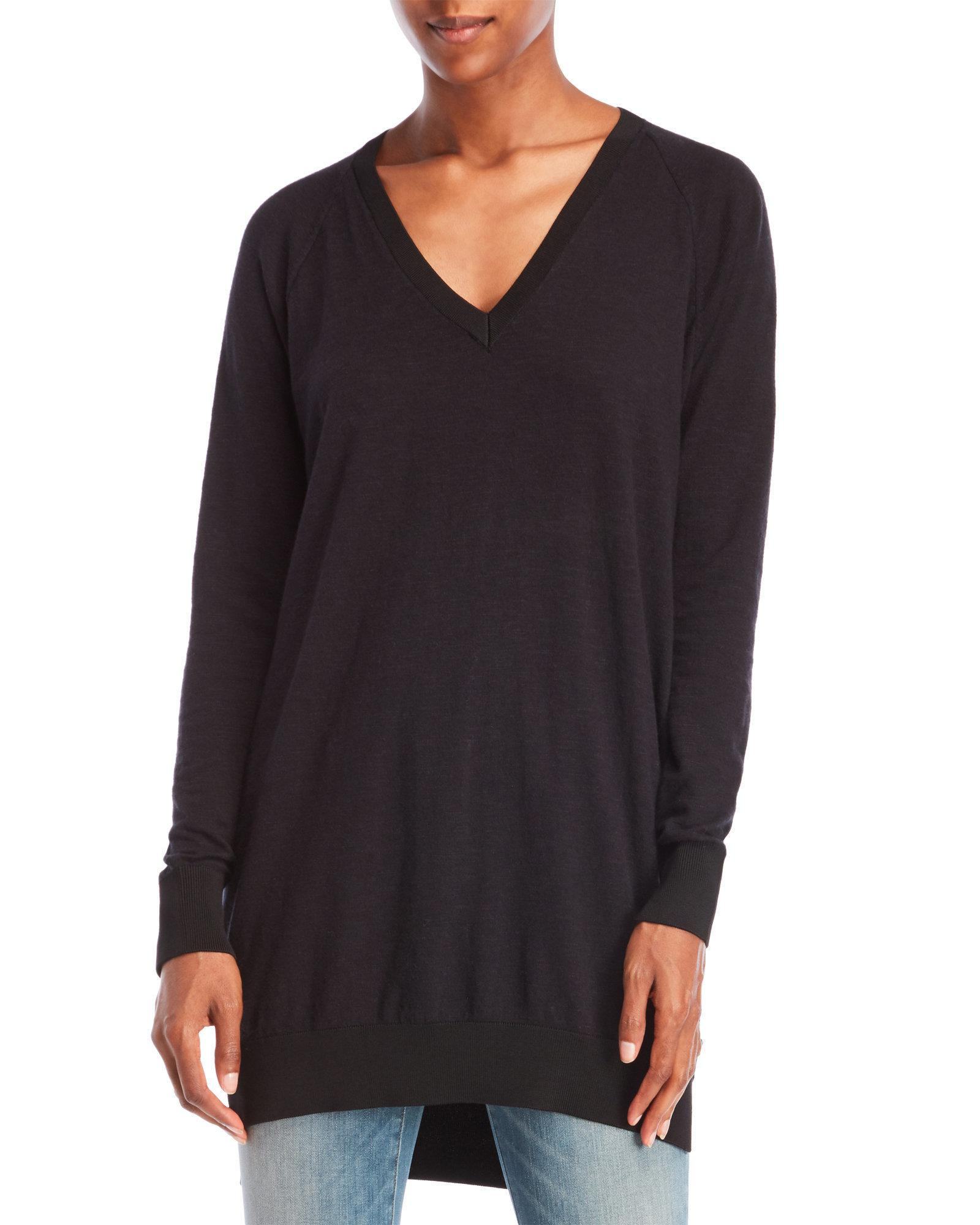 Scotch & soda V-Neck Tunic Sweater in Black | Lyst