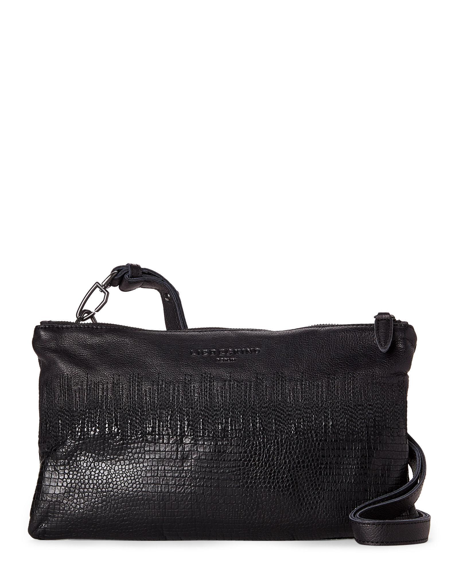 eb22fe36cdf00 Liebeskind Nairobi Black Jamba Lizard Embossed Shoulder Bag in Black ...