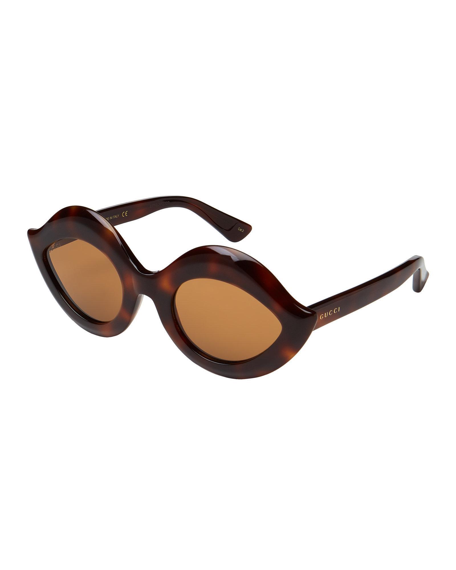 dc4b1e1ac82 Lyst - Gucci Gg 0085 s Tortoiseshell-look Lip-inspired Sunglasses in ...