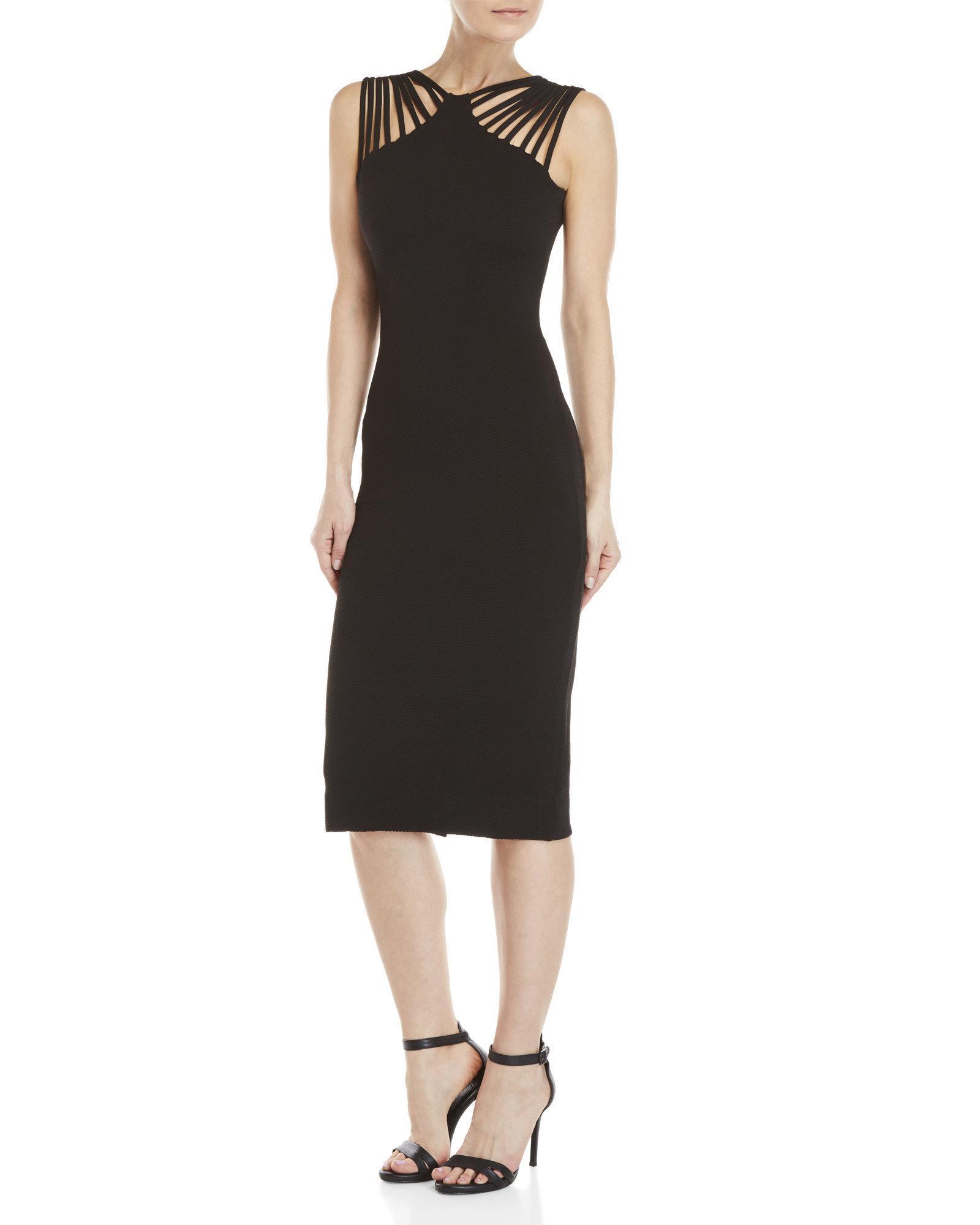 06934d45515 Dress the Population Gwen Strappy Midi Dress in Black - Lyst