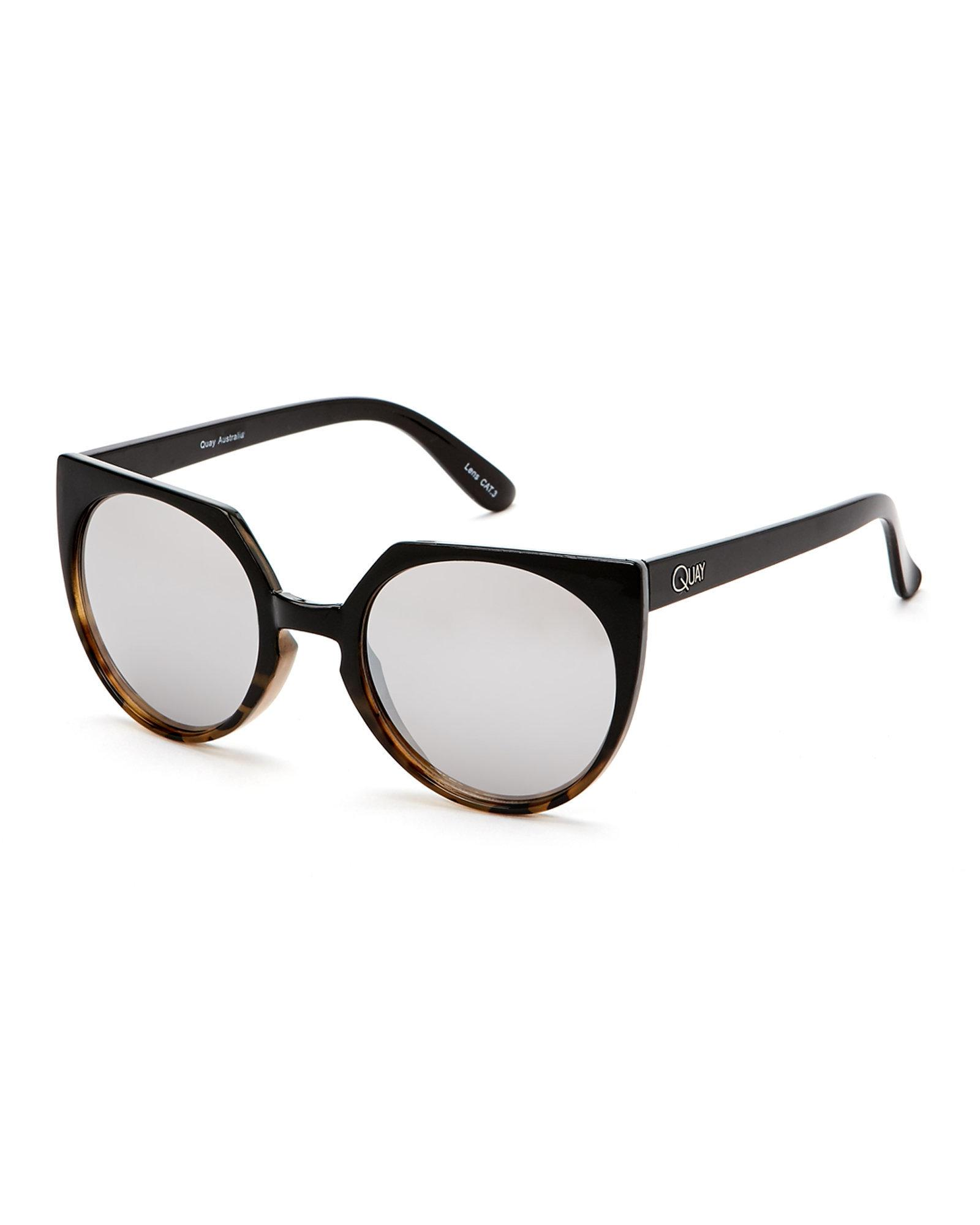 2daacc206ee Lyst - Quay Black Give   Take Two-Tone Cat Eye Sunglasses in Black