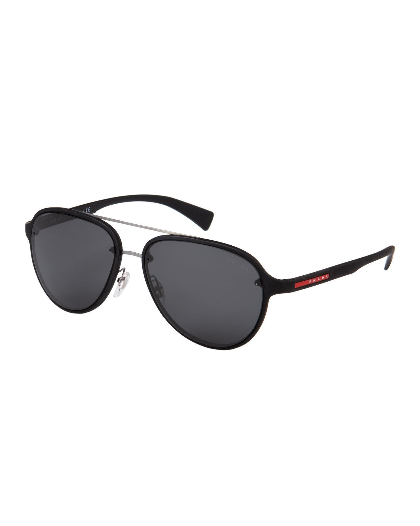 ce44a4092abad Prada Sport Sps 52s Black Aviator Sunglasses in Black - Lyst