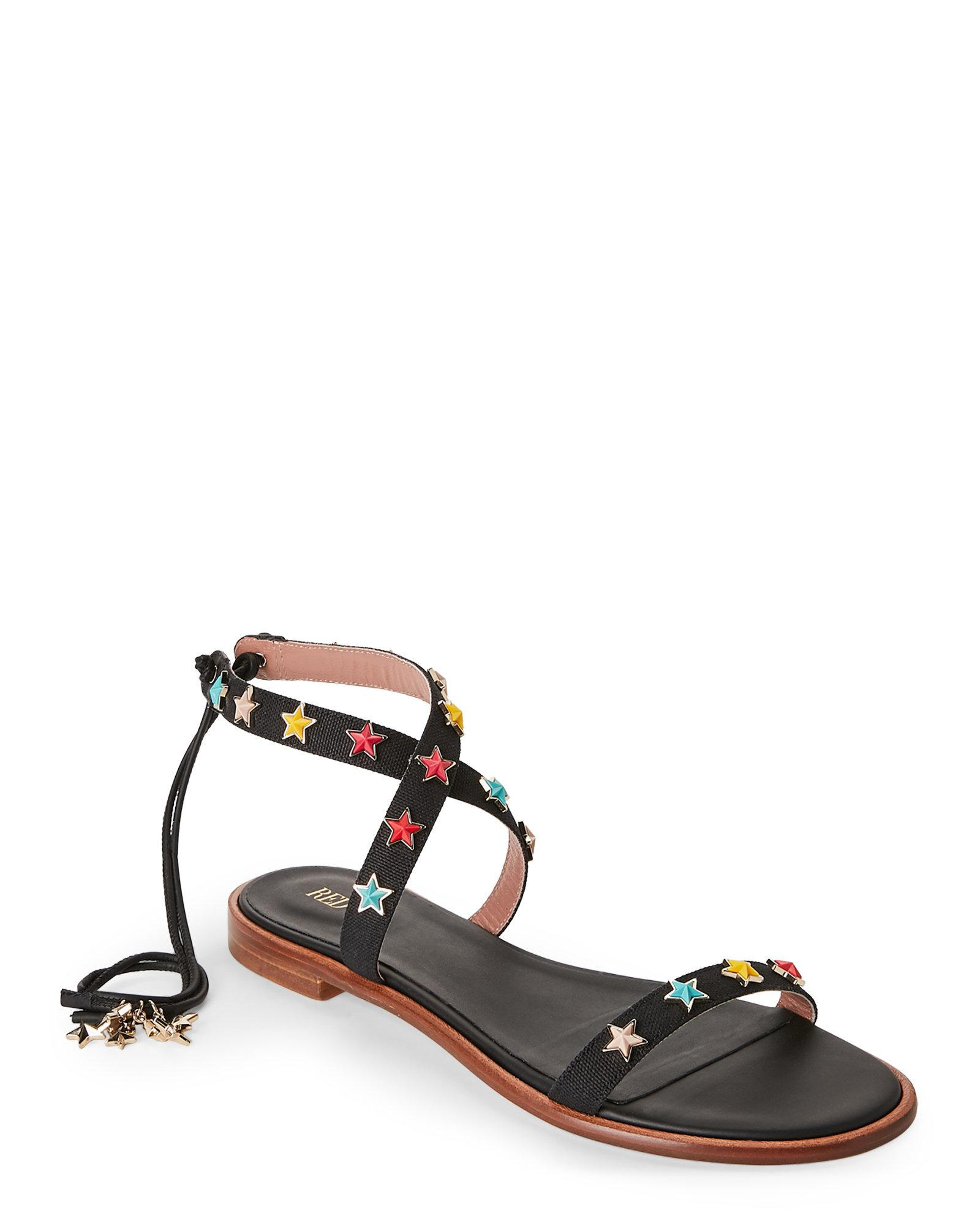 RED Valentino Star Studded Ankle Tie Sandal