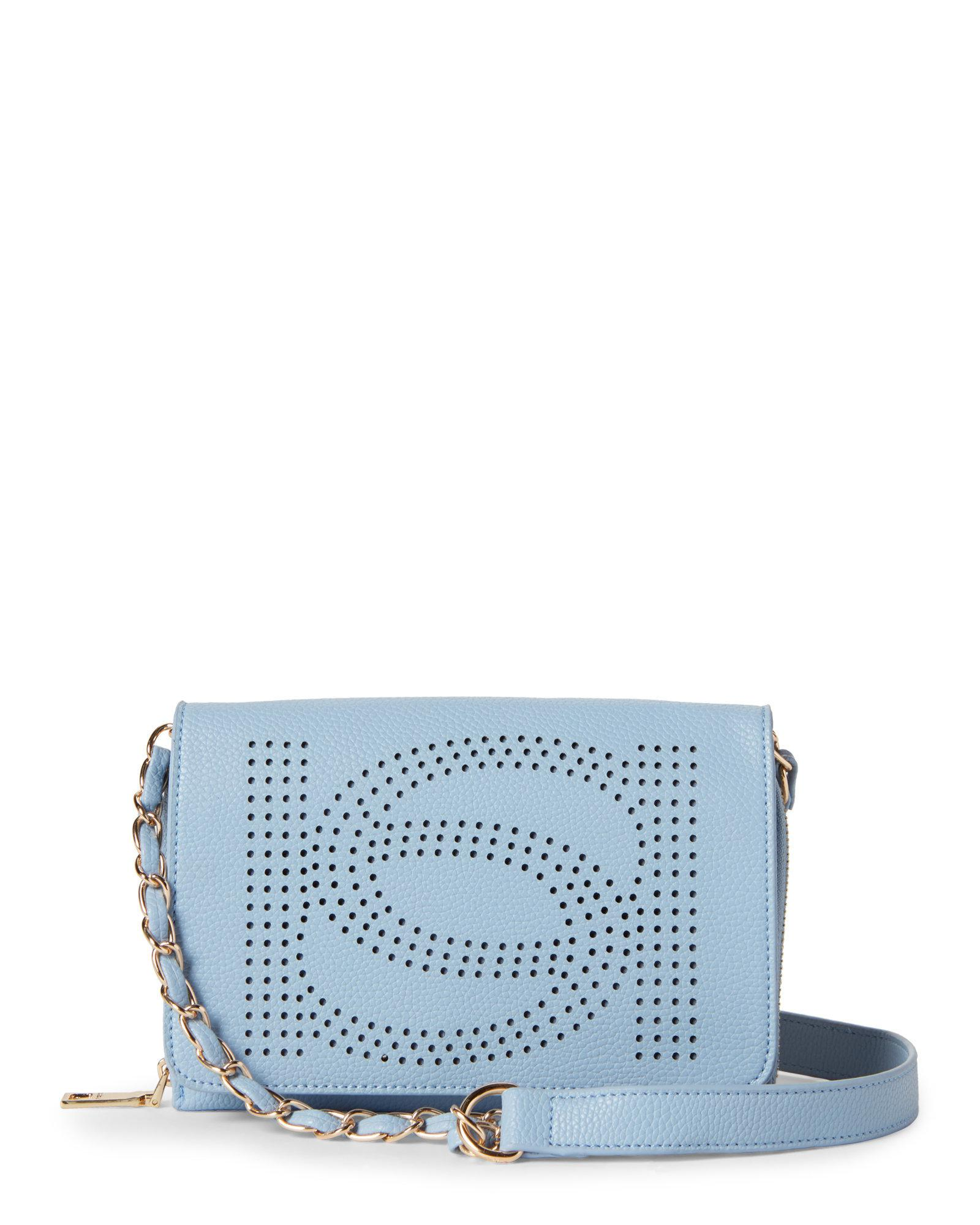 e1995cd4a6 Bebe Holly Perforated Logo Crossbody in Blue - Lyst