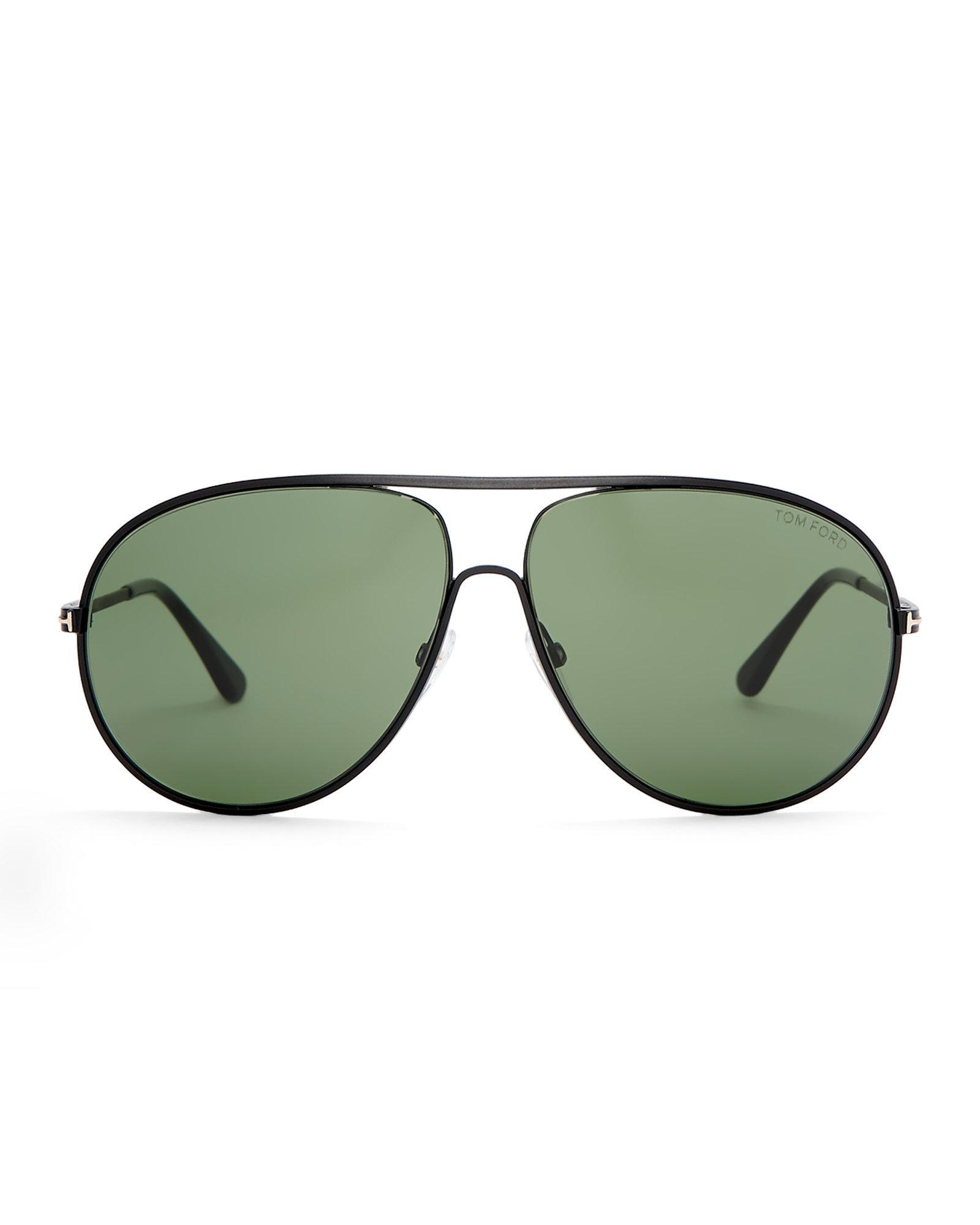 fec5db4f32f9b Lyst - Tom Ford Tf450 Black Cliff Aviator Sunglasses in Green