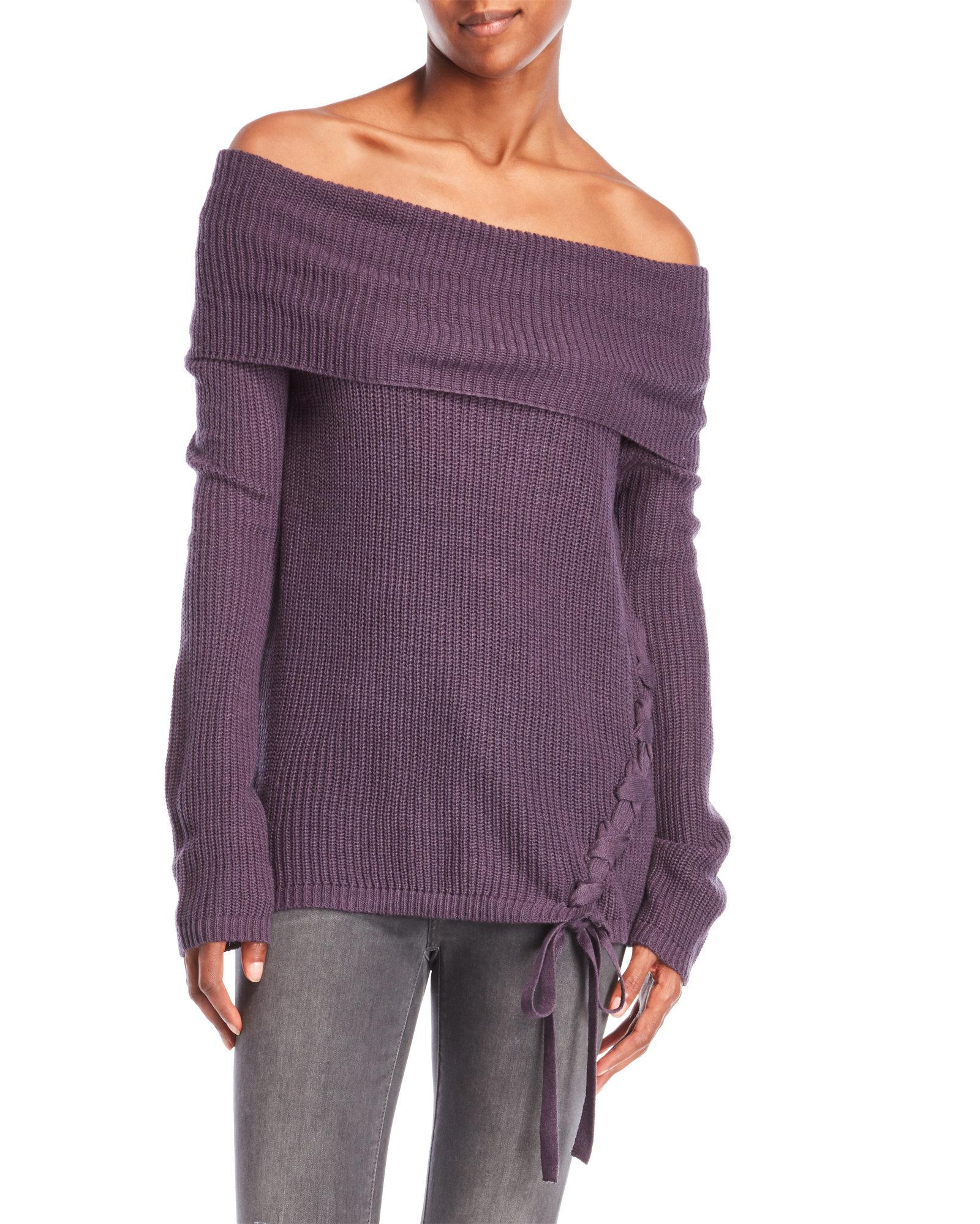 Fever Off-The-Shoulder Lace-Up Sweater in Purple | Lyst