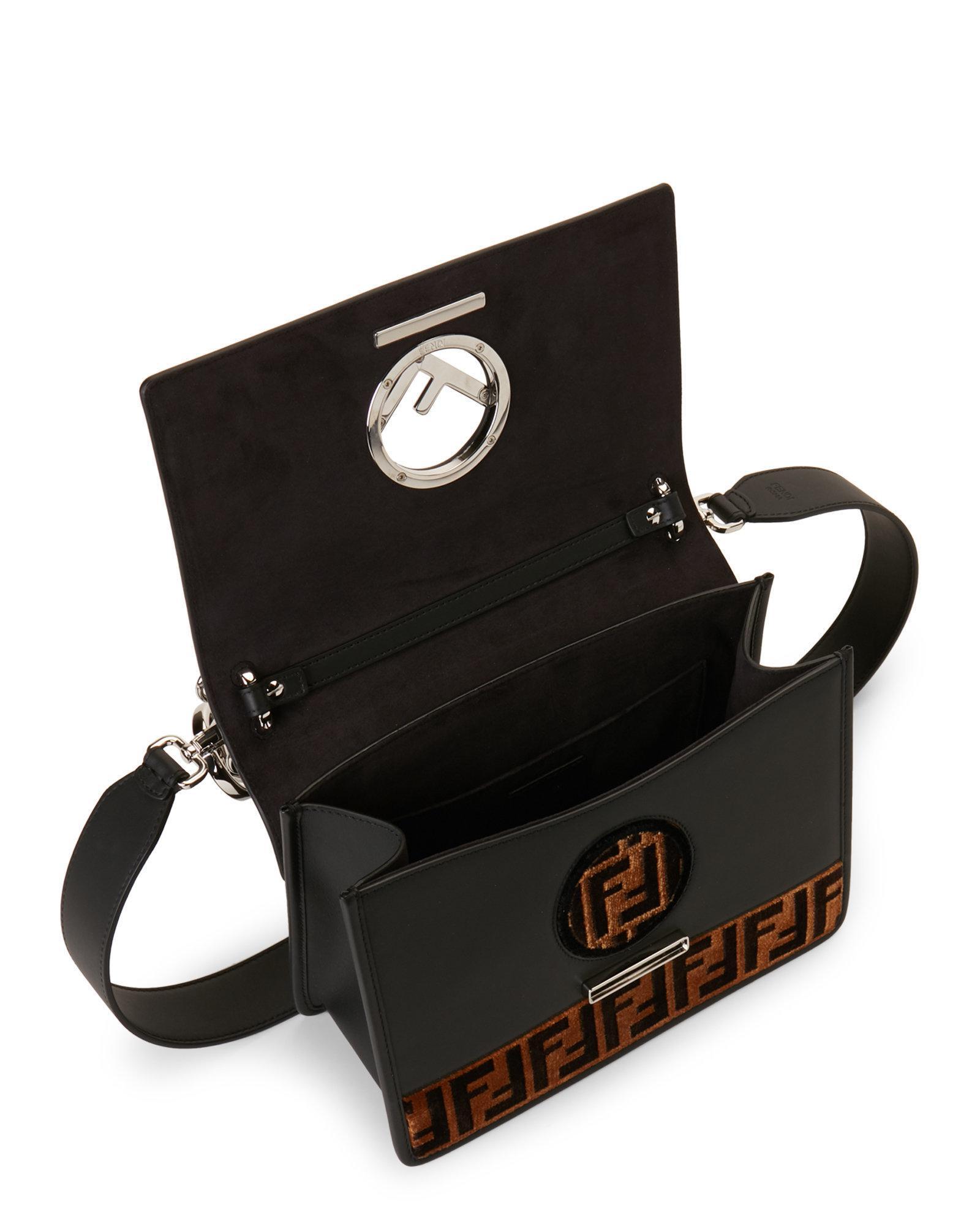 8bb16f2fdf Lyst - Fendi Black   Tobacco Kan I Logo Tappetino Leather Shoulder ...