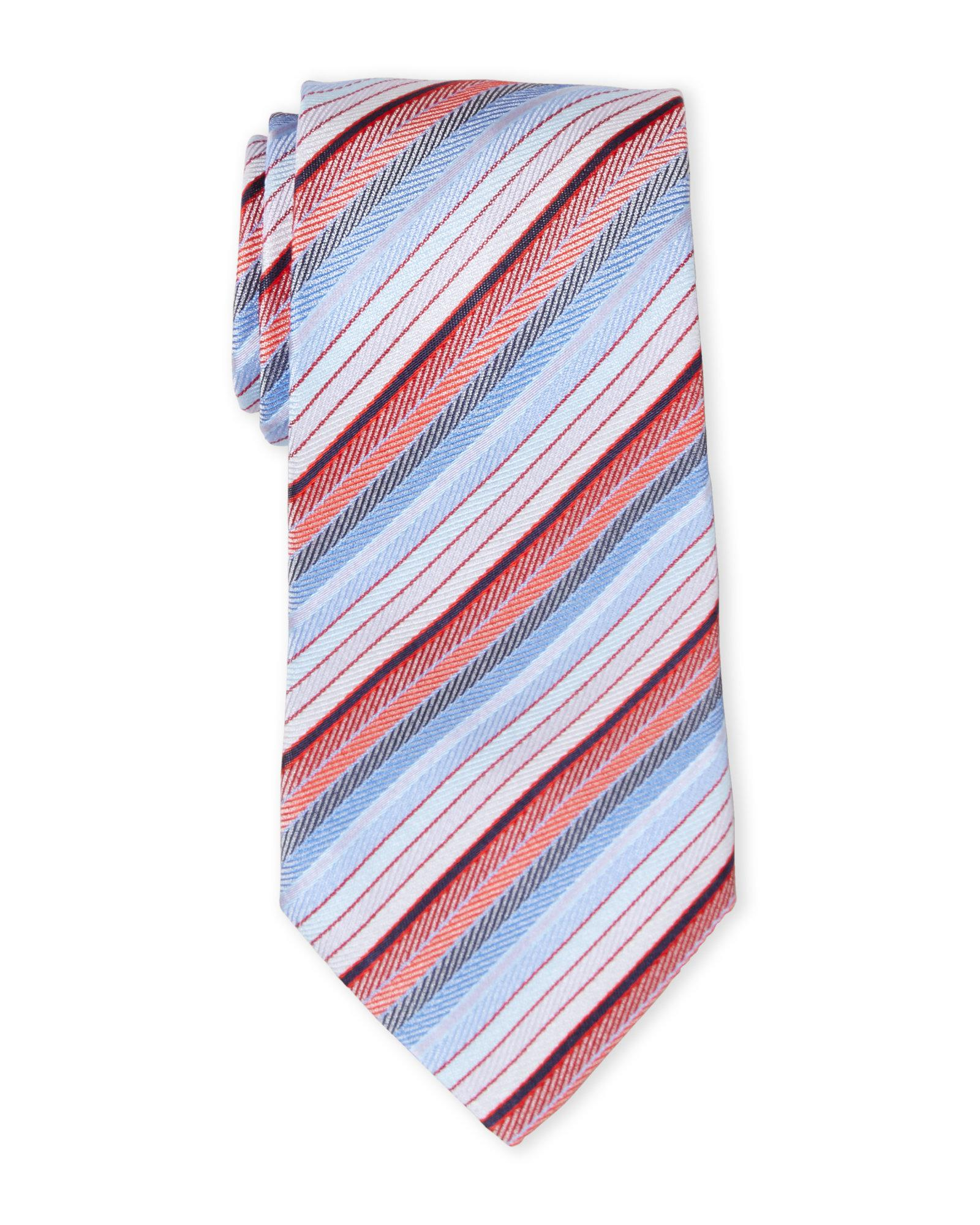Lyst - Missoni Red   Blue Stripe Herringbone Silk Tie in Blue for Men 327c7a704