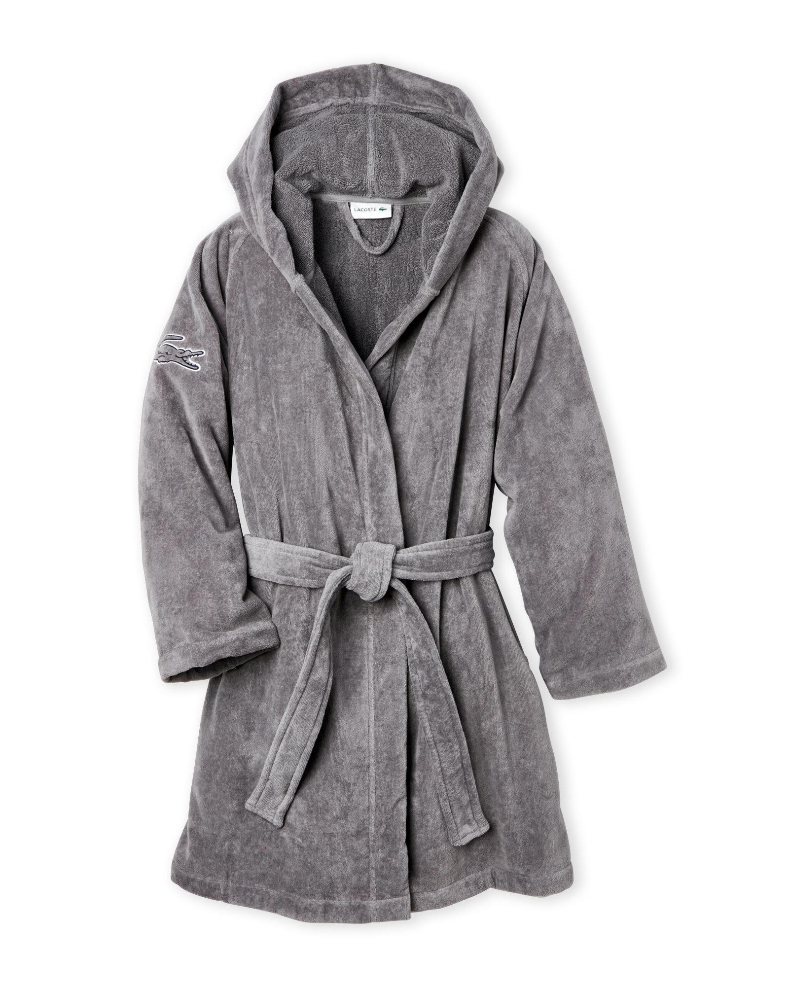 Lyst - Lacoste Hooded Fairplay Robe in Gray dd6b3c3e8