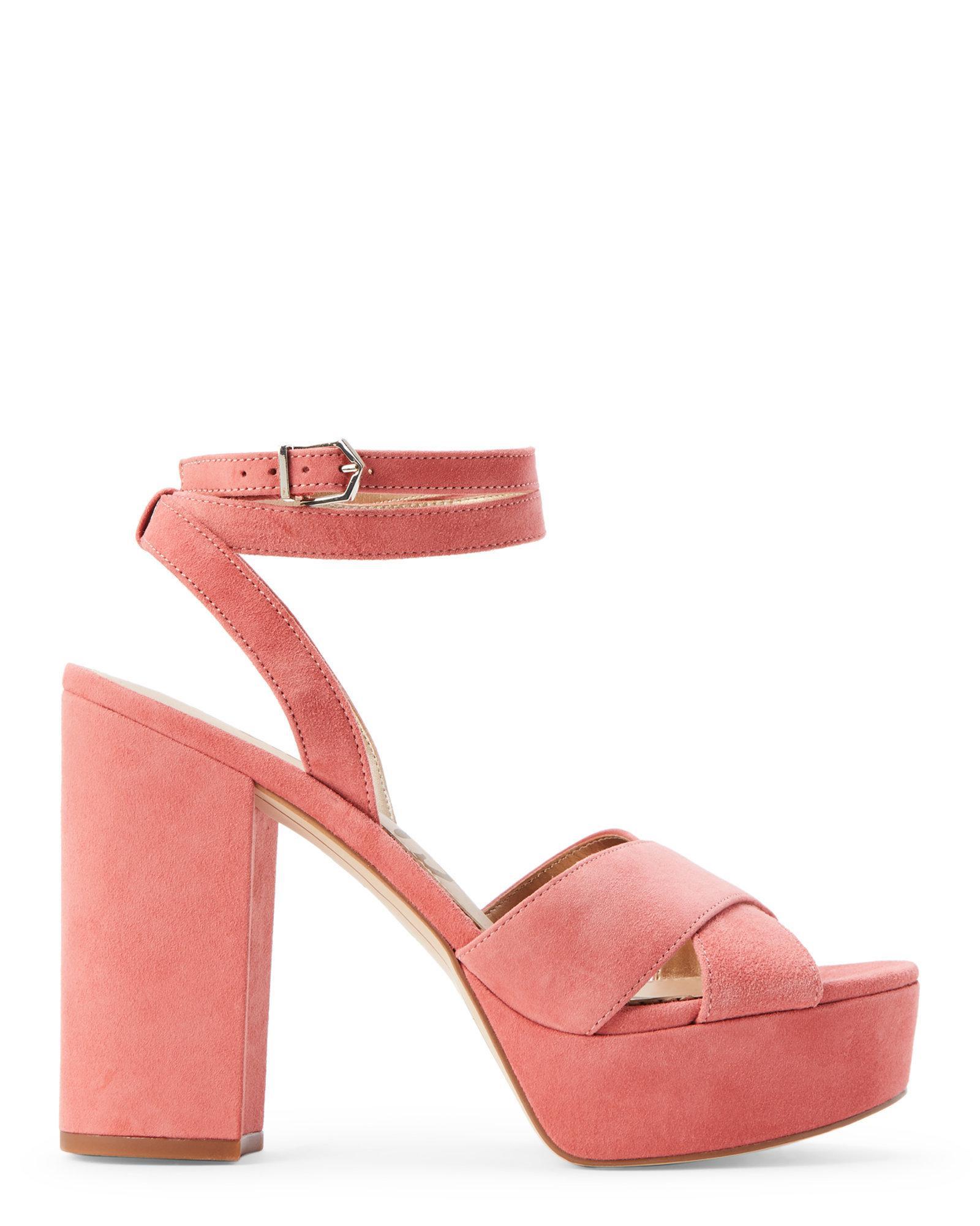 85920faa5 Lyst - Sam Edelman Washed Coral Mara Platform Block Heel Sandals in Pink