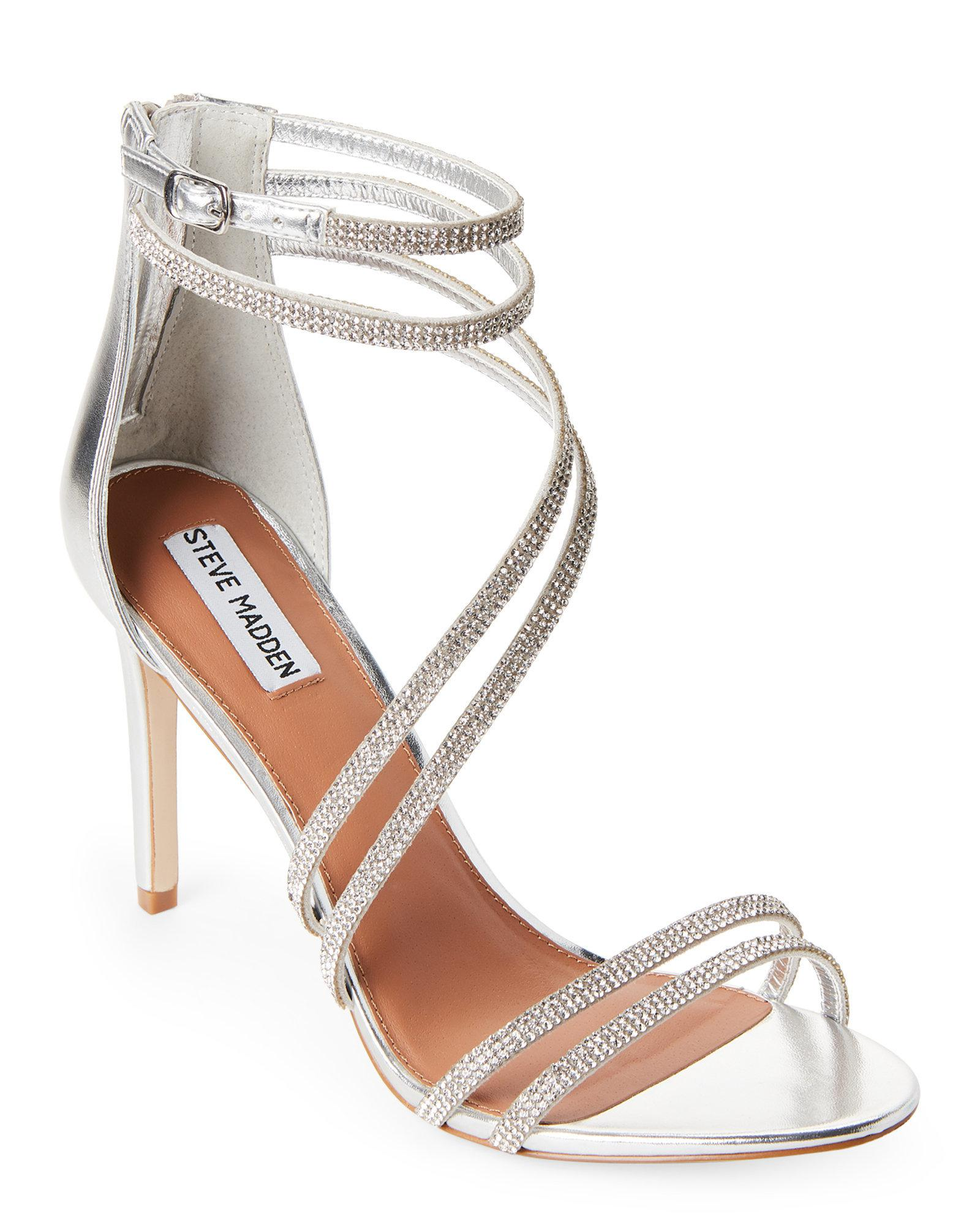 a30a972cbbdd Lyst - Steve Madden Pewter Fiffi Embellished Strappy Sandals in Metallic