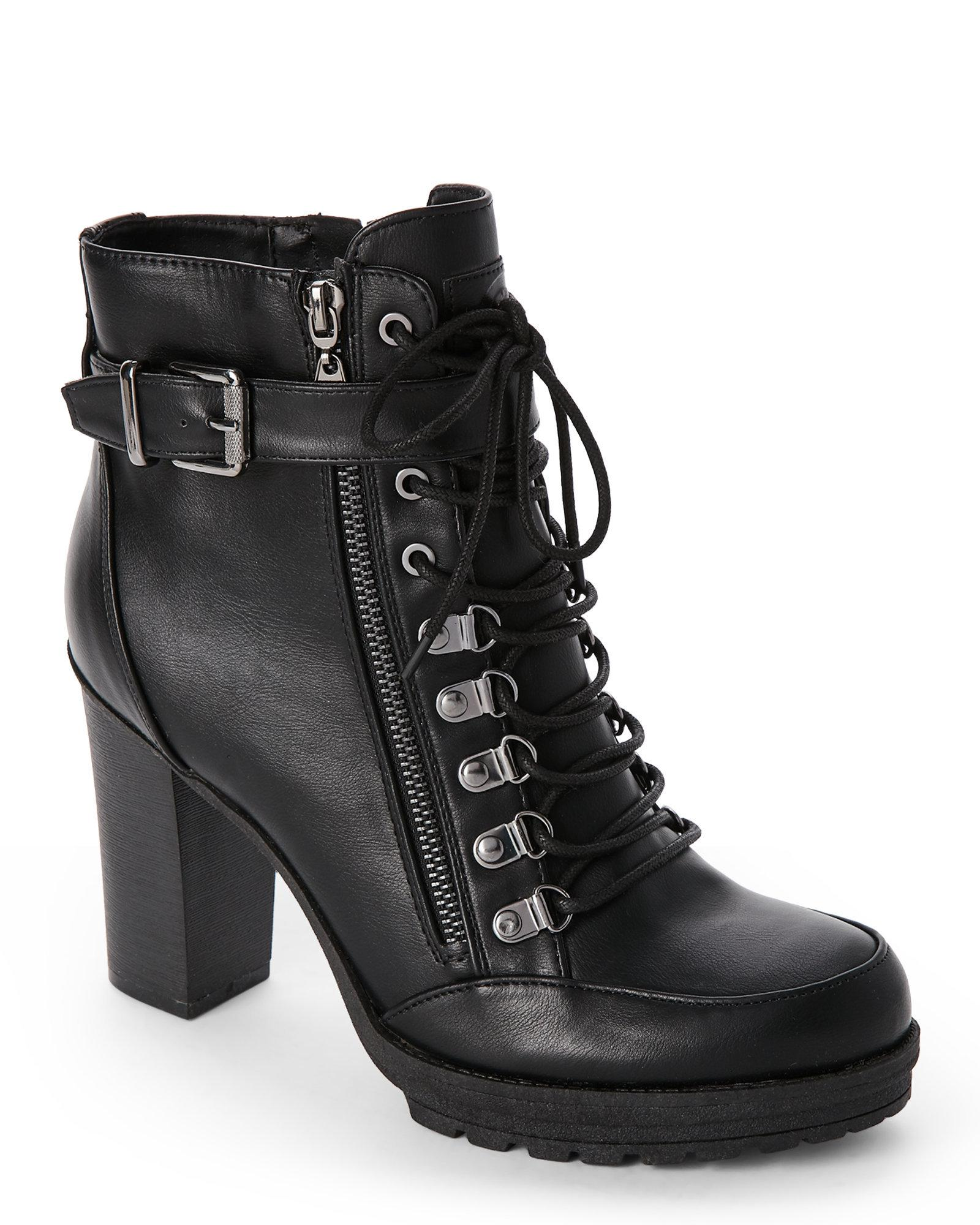 406c8b8c23 G by Guess Black Grazzy High Heel Combat Boots in Black - Lyst