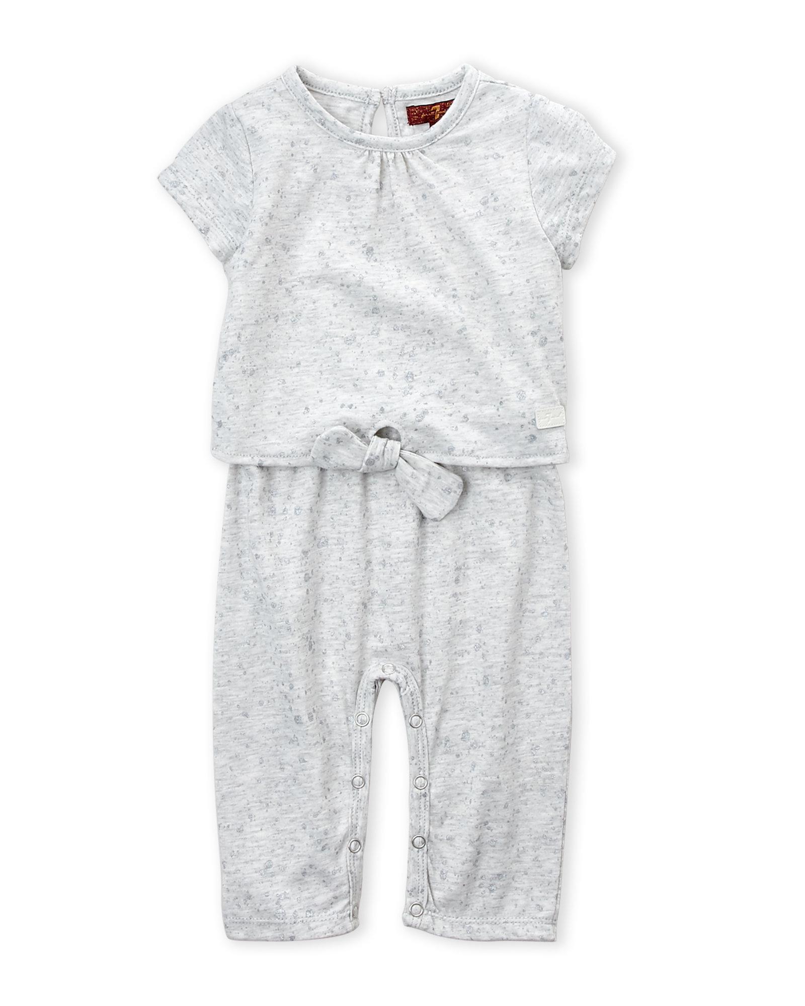 3bb063ba7beb Lyst - 7 For All Mankind (newborn Girls) Tie Front Romper in Gray