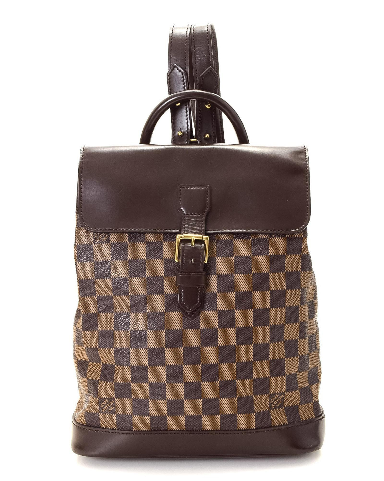 d9e39a9e9253 Lyst - Louis Vuitton Damier Ebene Soho Backpack - Vintage in Brown