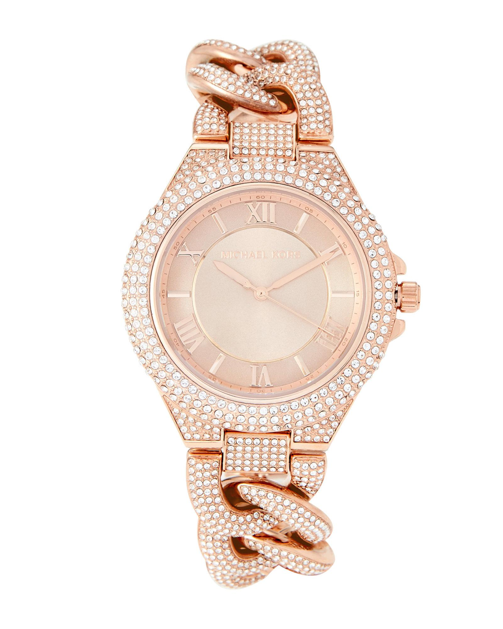 d2c2e9bd01ef Lyst - Michael Kors Mk3821 Rose Gold-tone Camille Pave Watch in Pink
