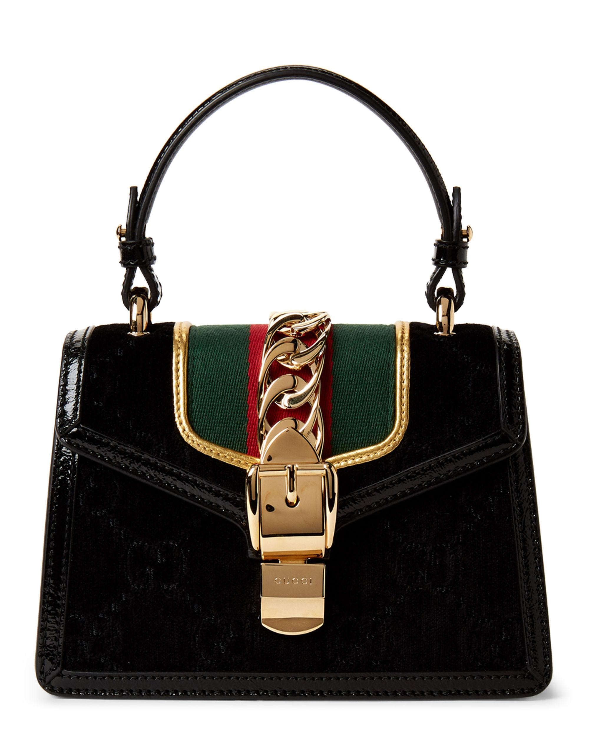6c56f90c56f542 Lyst - Gucci Black Sylvie GG Velvet Mini Top Handle Bag in Black