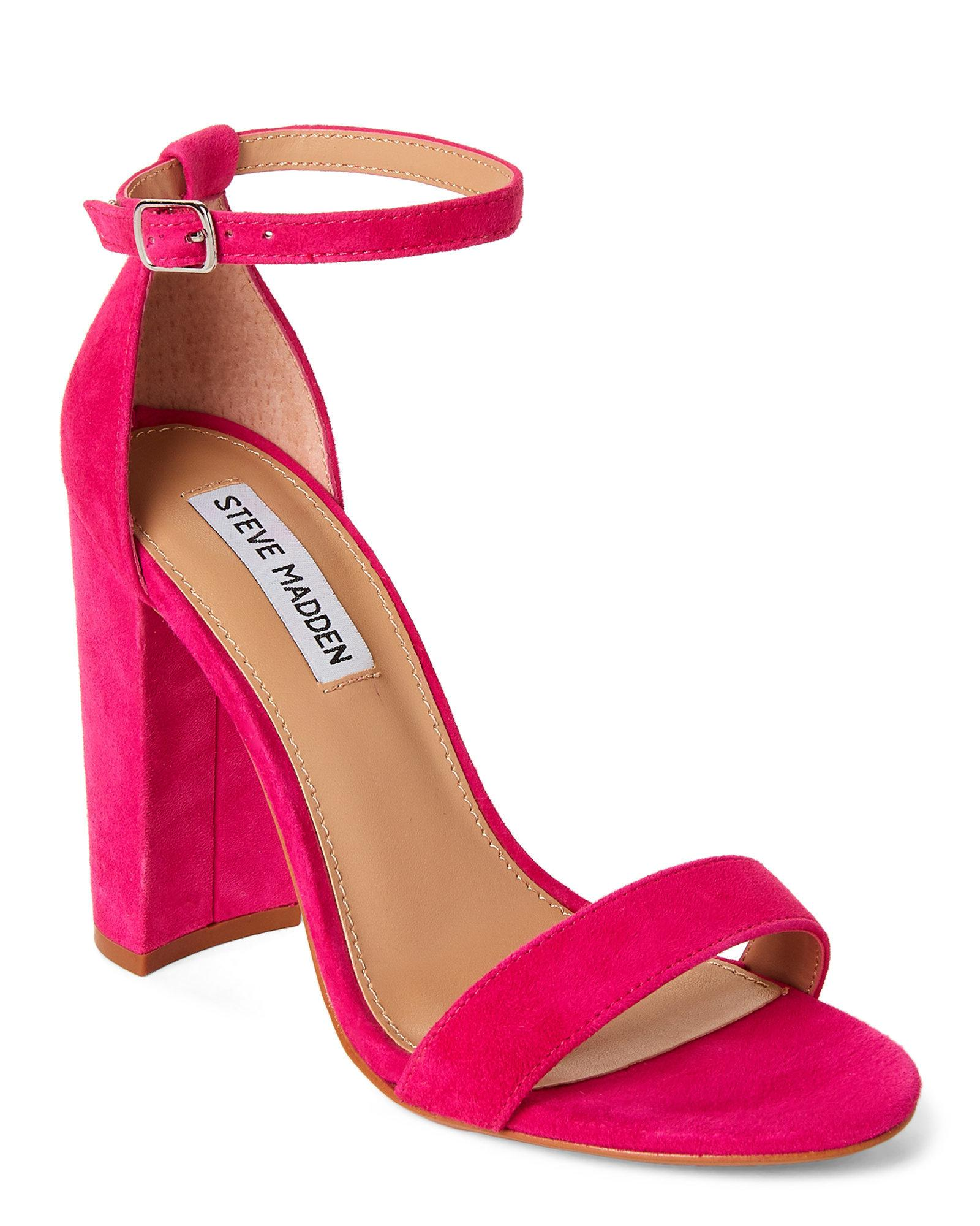 4a67d2dec4f Lyst - Steve Madden Hot Pink Carrson Ankle Strap Suede Sandals in Pink