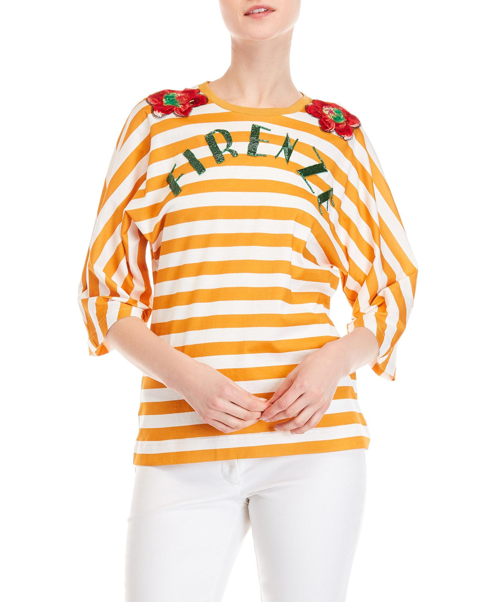 Lyst - Dolce   Gabbana Firenze Striped Tee in Orange 7f4ad87f0410a