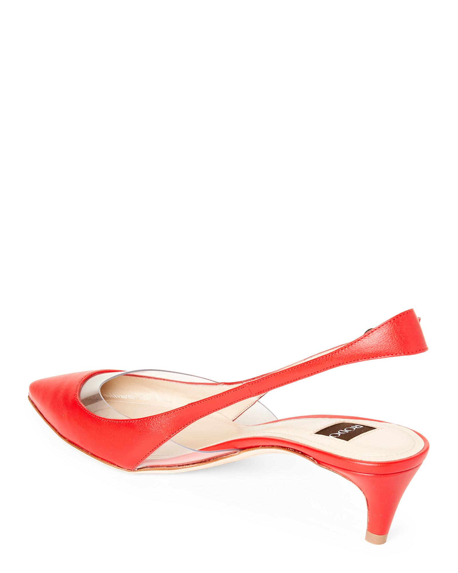 fb9aff3b251 Lyst - Rodo Leather Low Heel Slingback Pumps in Red