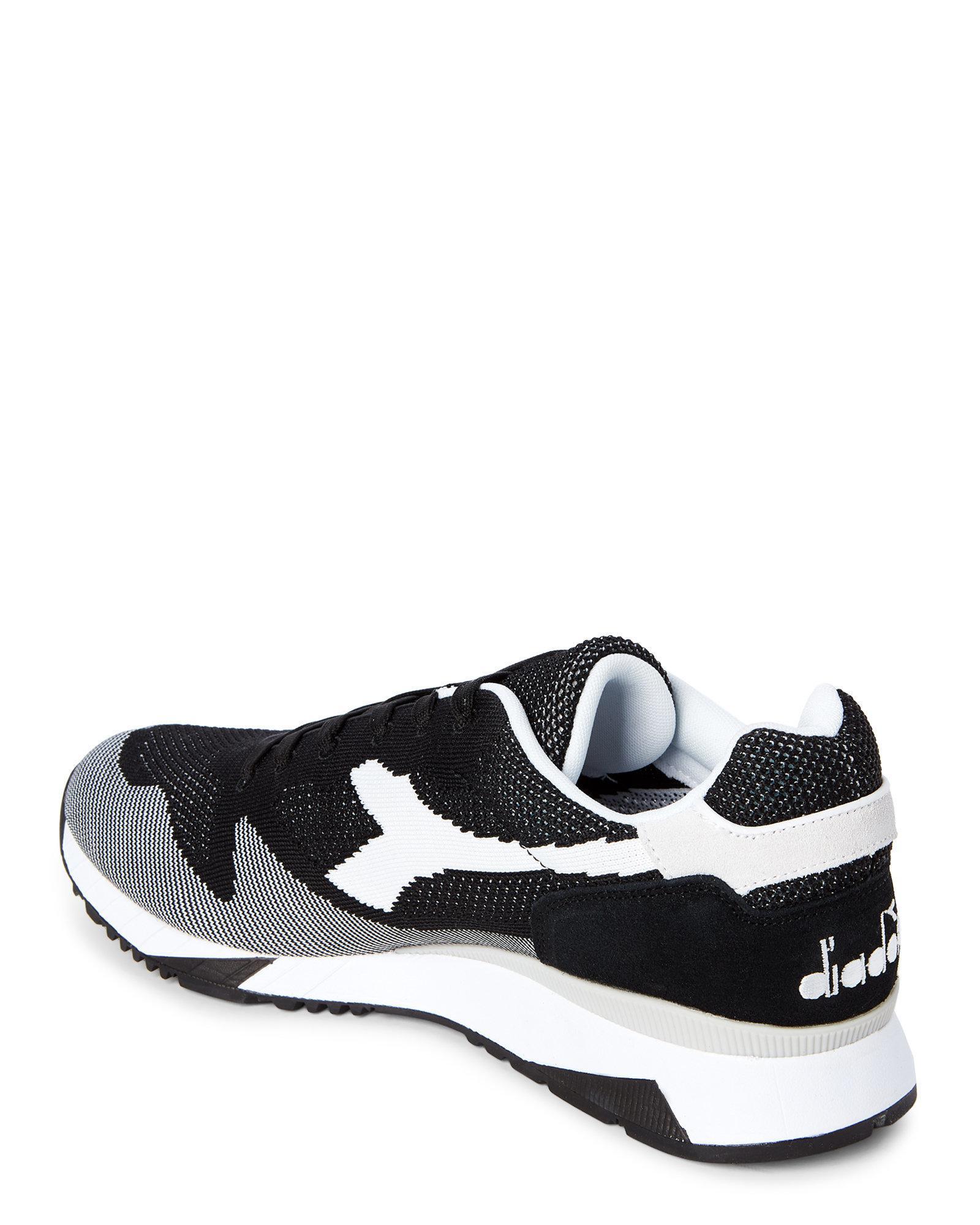 Lyst - Diadora Black   White V7000 Weave Jogger Sneakers in Black ... 245d4d047