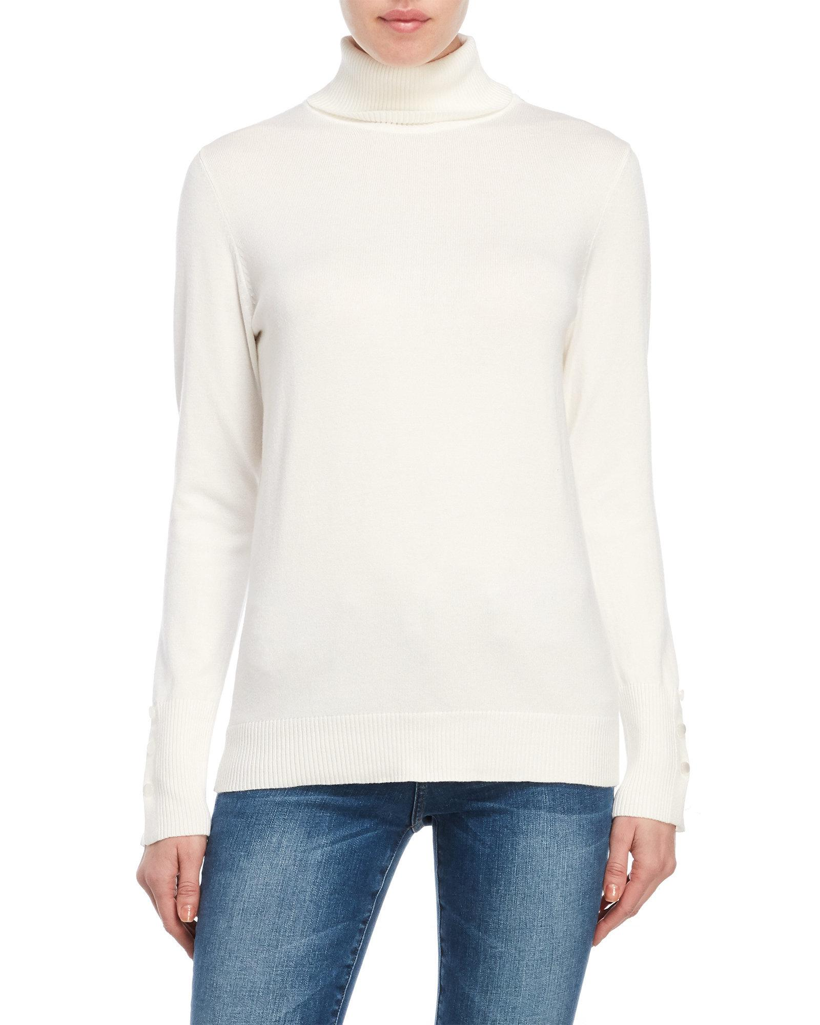 9a9cf66815f92 Lyst - Joseph A Button Cuff Turtleneck Sweater in White