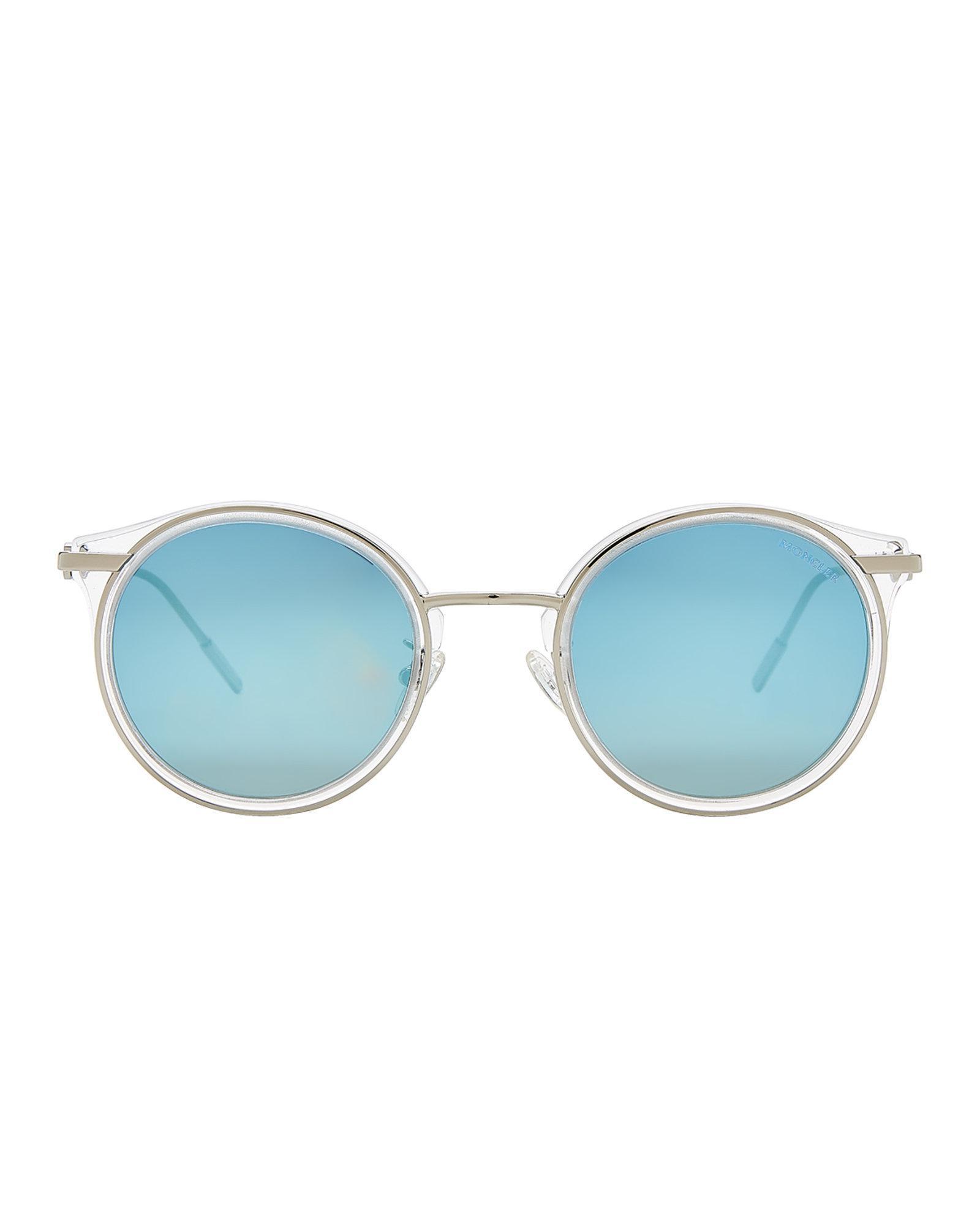 K Sunglasses Silver Tone Ml0023 In Moncler Round amp; Lyst Blue qZx8EnUU