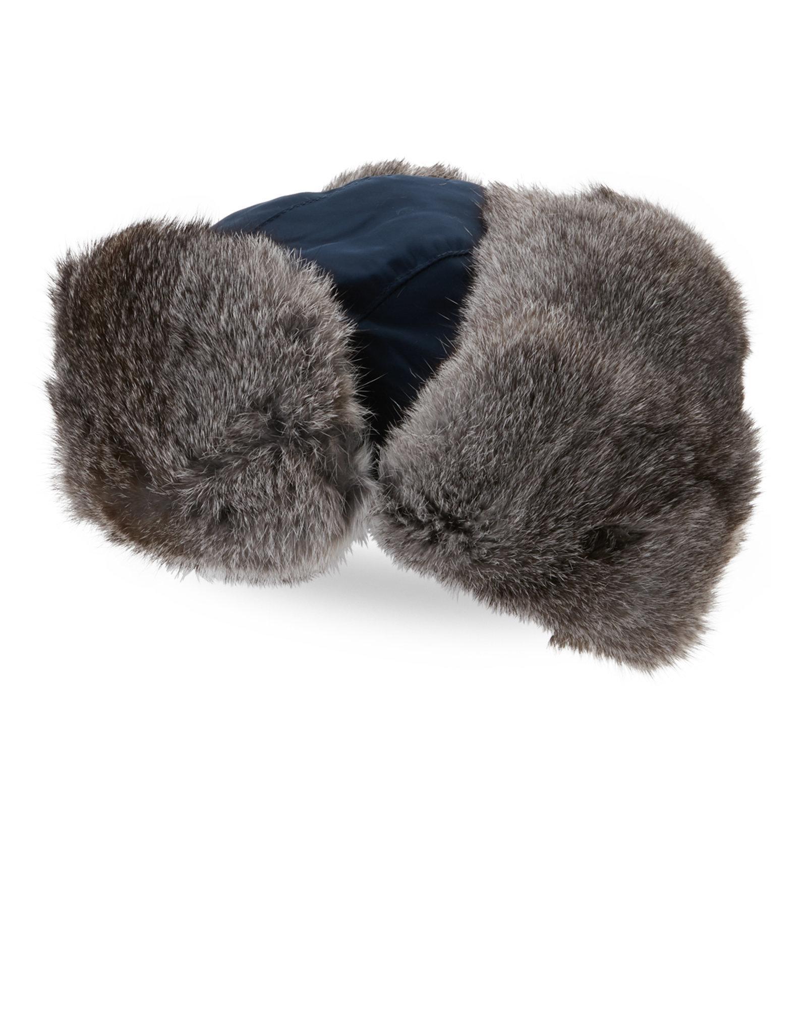 5db39daedb6d4 Lyst - Crown Cap Real Rabbit Fur Lined Bomber Hat in Gray for Men