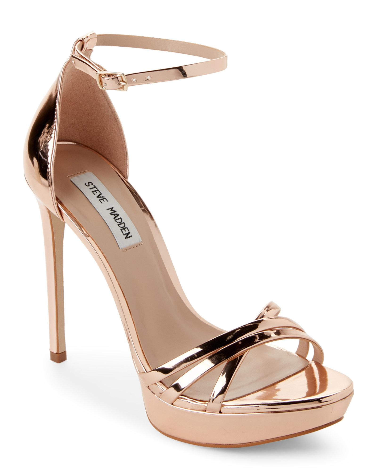 5c6095923 Steve Madden Rose Gold Cassandra Metallic Strappy Platform Sandals ...