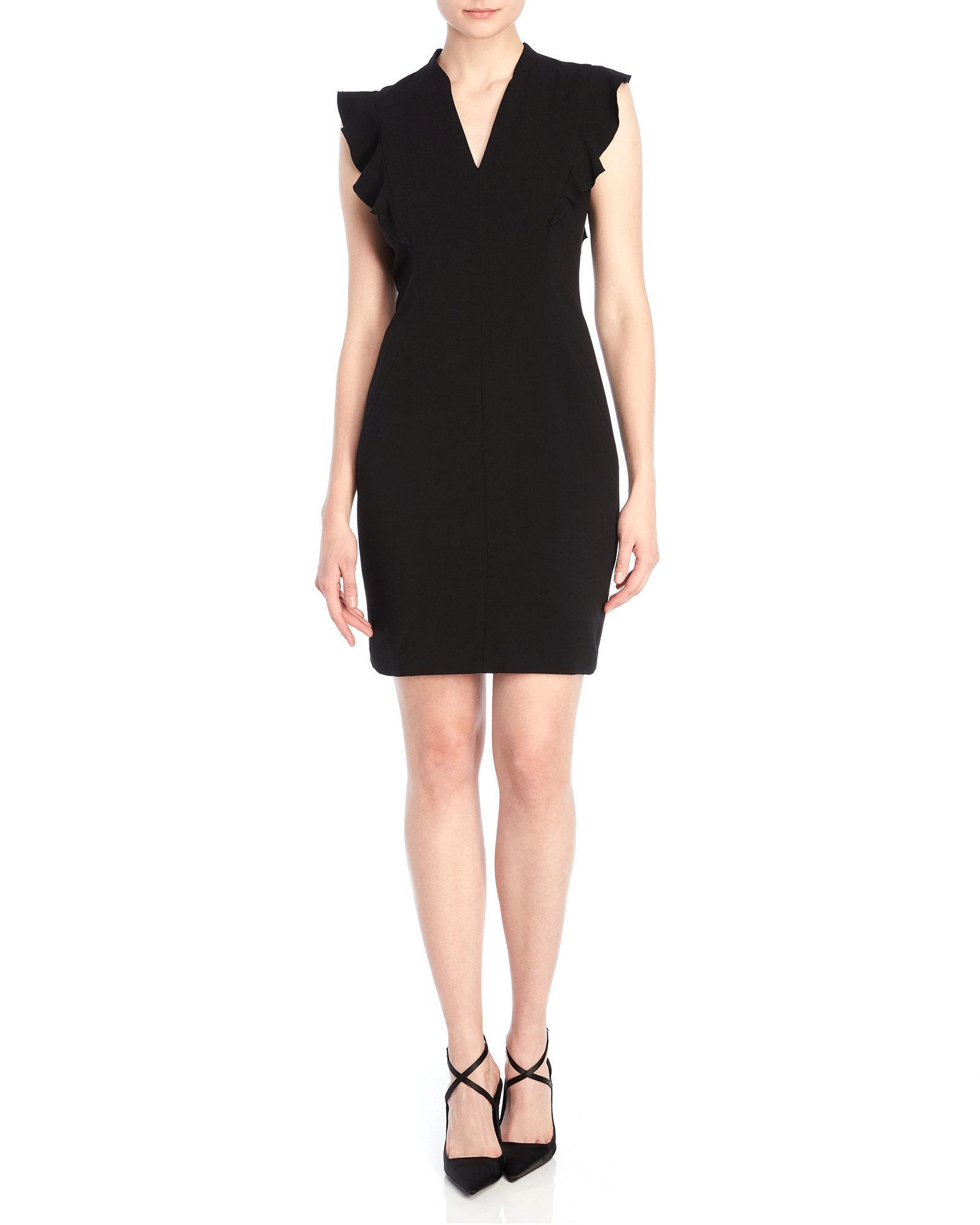 a56b66b7c29 Lyst - T Tahari Anjali Ruffle Sheath Dress in Black