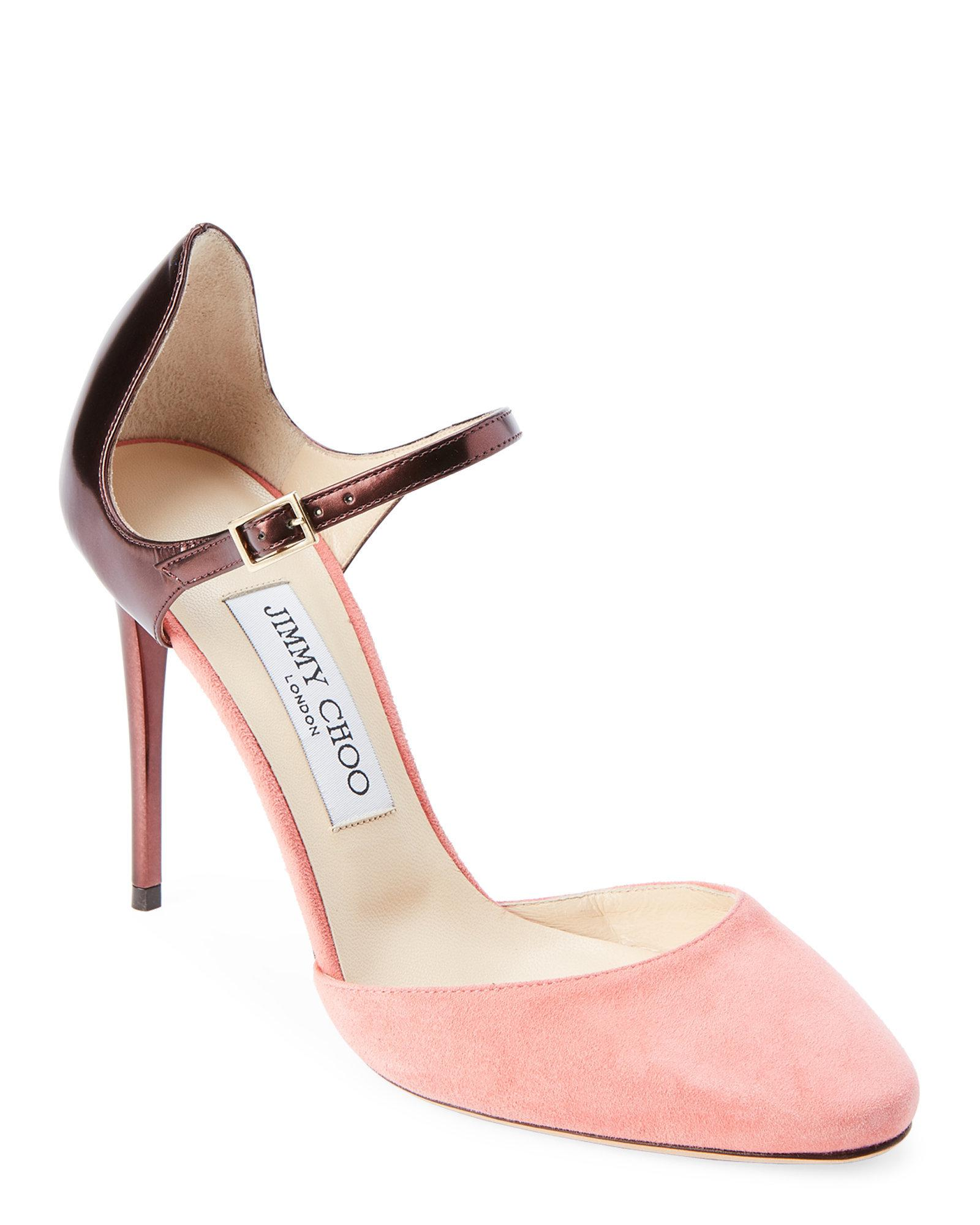 Lou Mid Pumps with Ankle Strap in Ballet Pink Shiny Smooth Leather Jimmy Choo London FqjPb