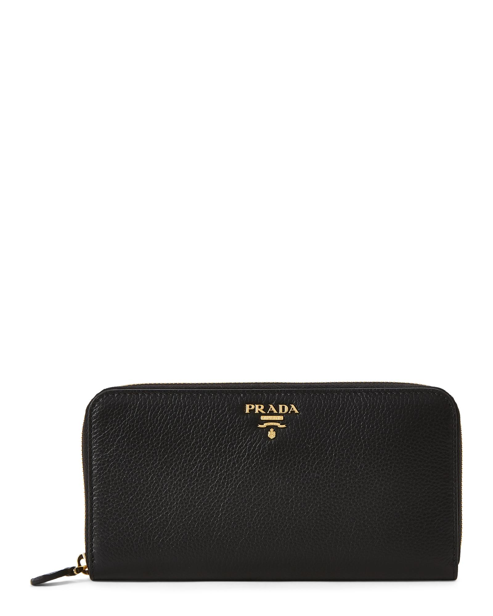 820023565808 Prada Black Leather Zip-around Wallet in Black - Lyst
