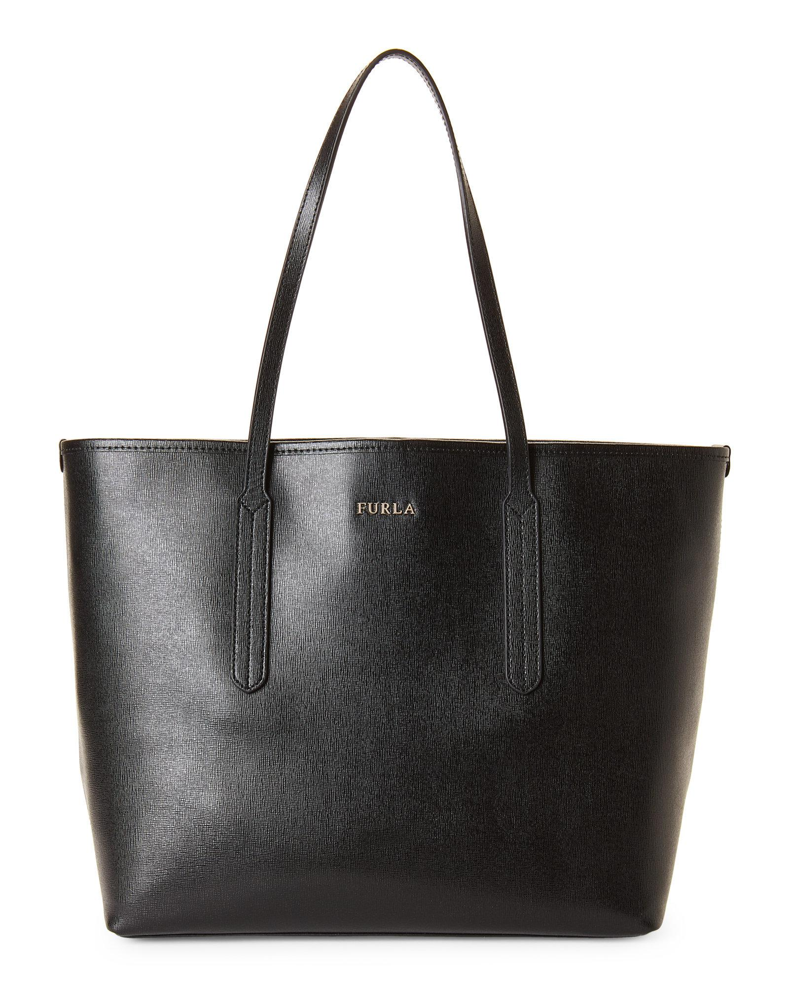 a0a4e5d7957e Furla Ariana Open Leather Tote in Black - Lyst