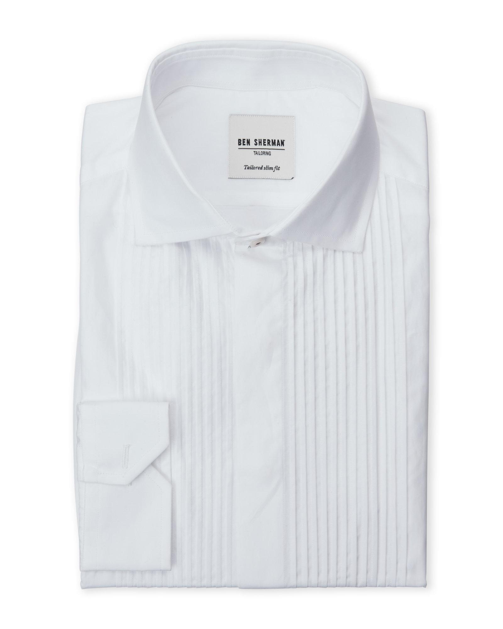 Lyst Ben Sherman French Cuffs Tuxedo Dress Shirt In White For Men