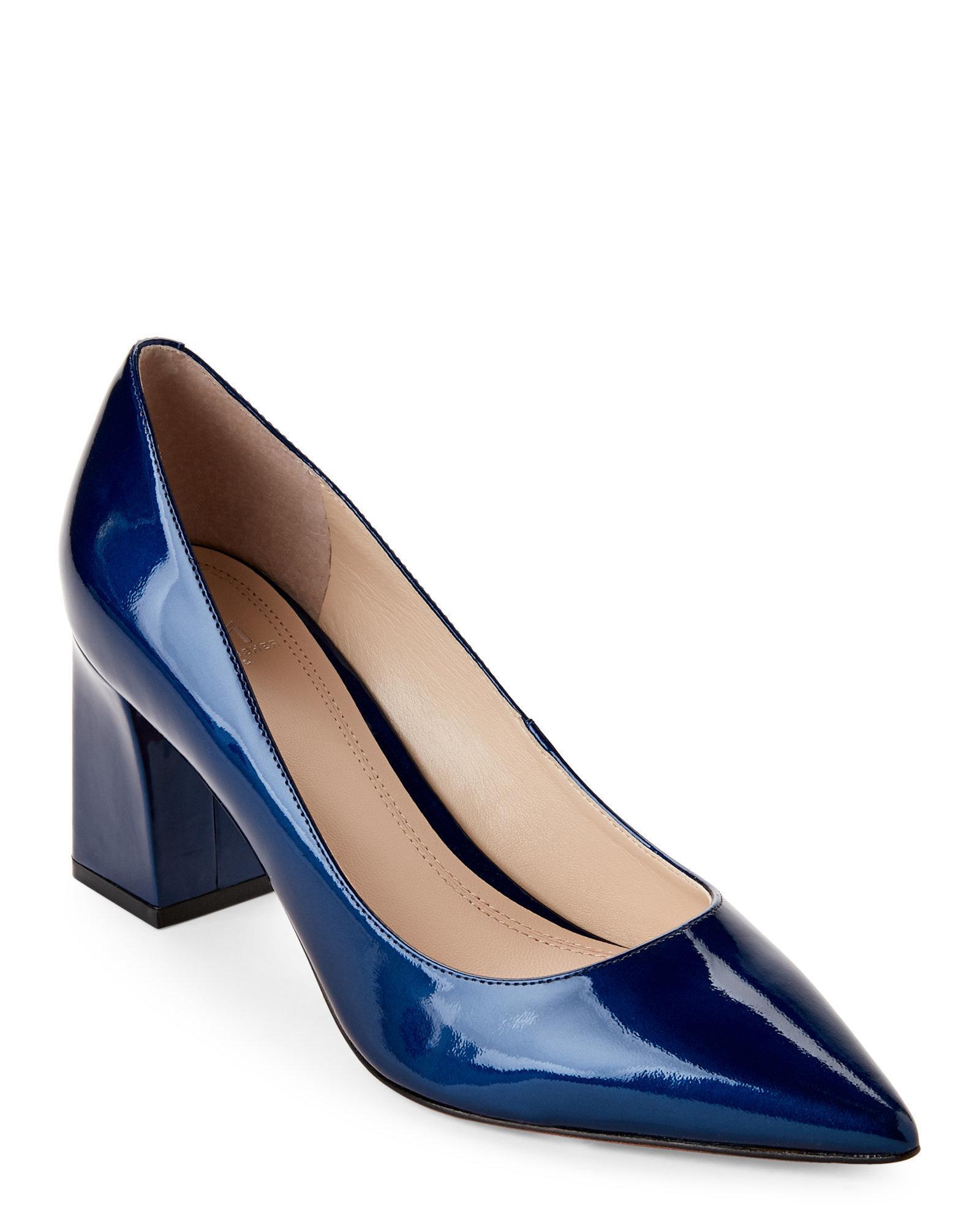 aadde6e69 Marc Fisher Zala Patent Leather Block Heel Pumps in Blue - Lyst