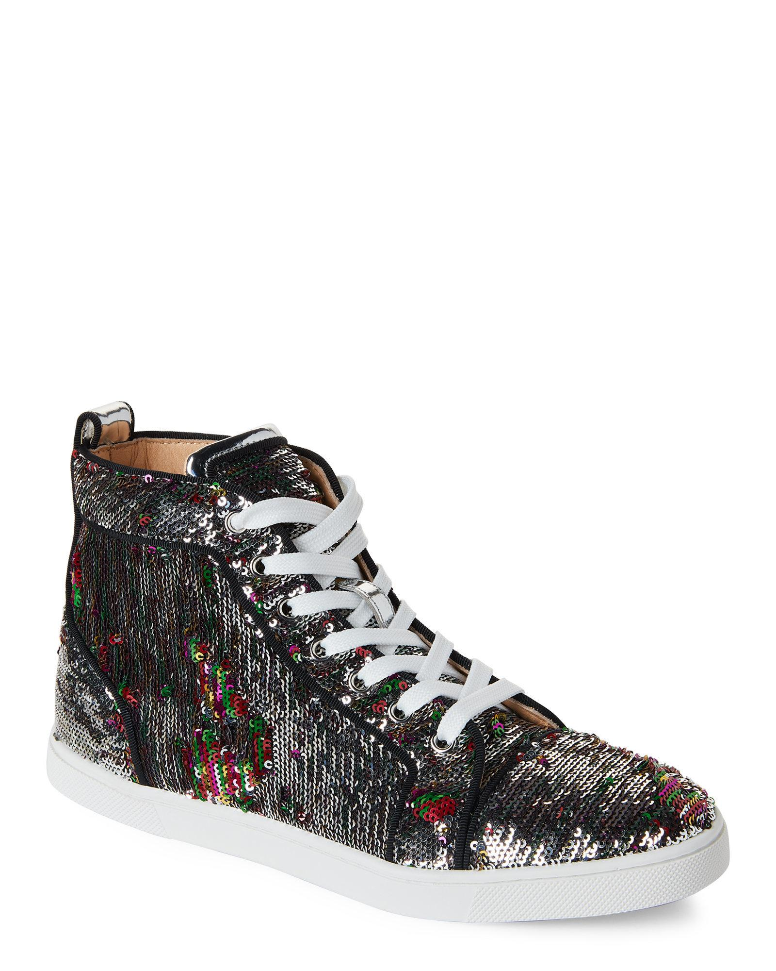 82a46d3ebbf Lyst - Christian Louboutin Bip Bop High-top Sequin Sneakers in Black
