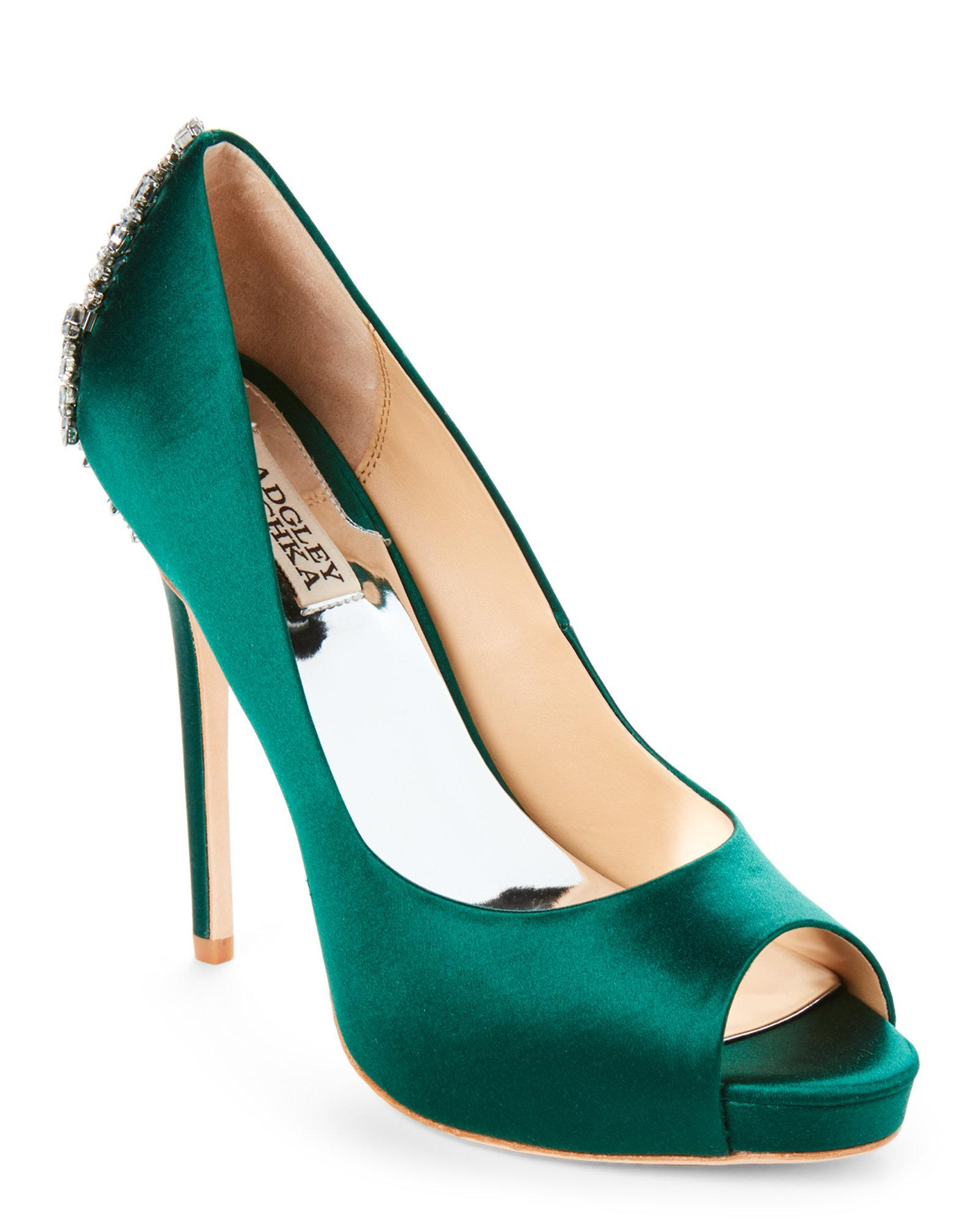 95cd30340e00 Lyst - Badgley Mischka Emerald Kiara Embellished Peep Toe Pumps in Green