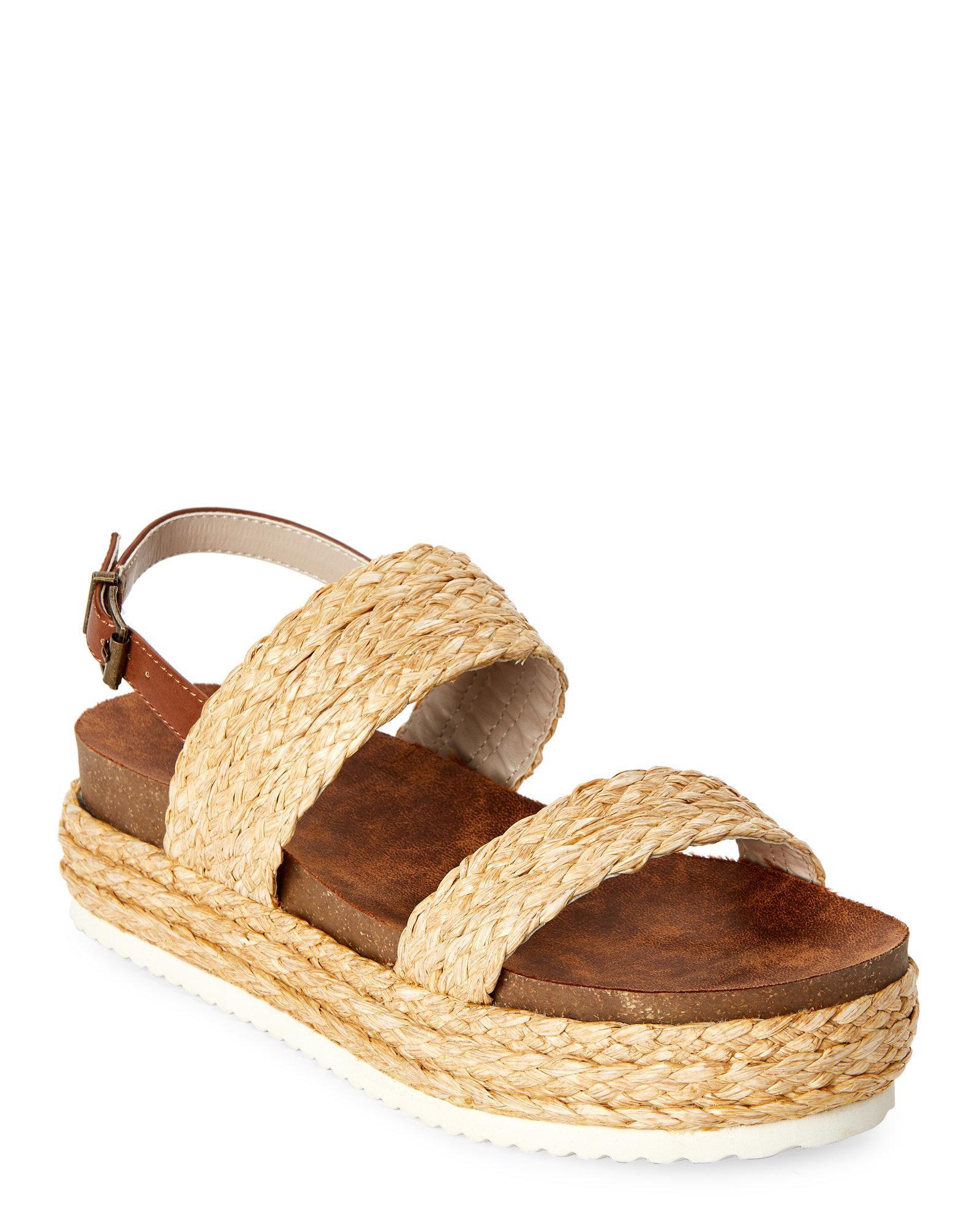 7f1c39da5ab Lyst - MIA Natural Ava Braided Flatform Sandals in Natural