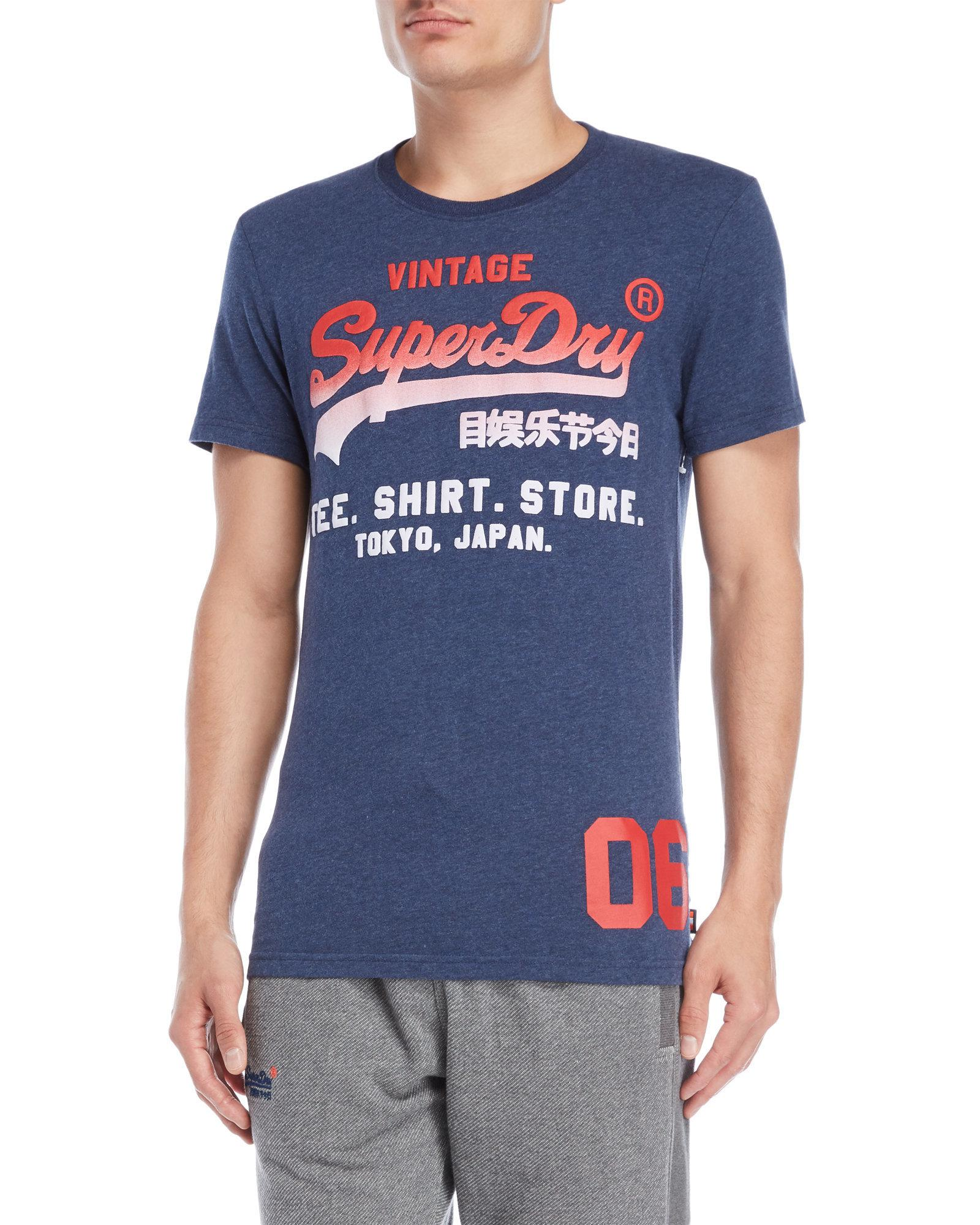 a4ed2304f Lyst - Superdry Faded Graphic Logo Tee in Blue for Men